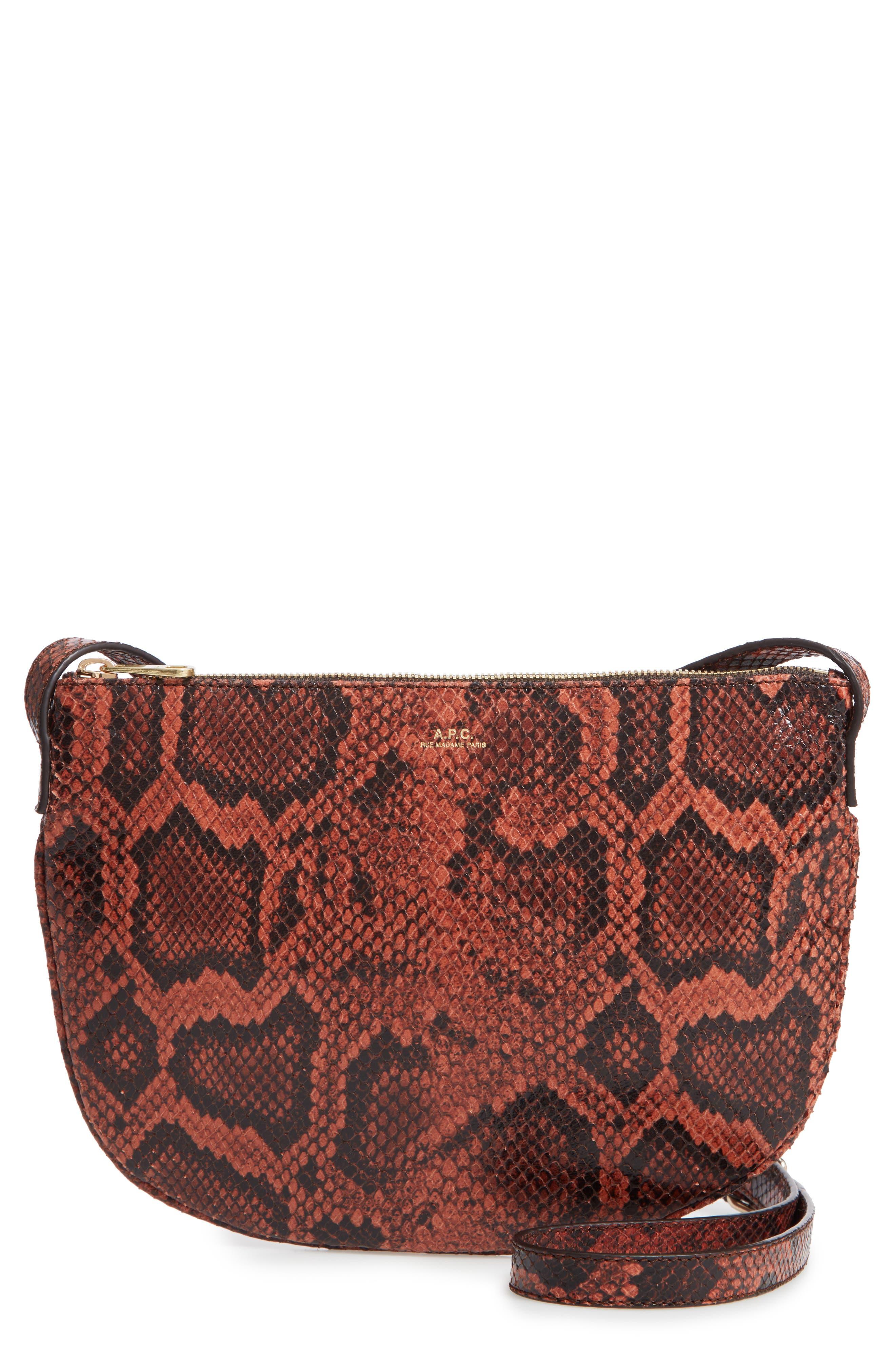A.P.C., Sac Maelys Python Embossed Leather Crossbody Bag, Main thumbnail 1, color, EAF BRIQUE