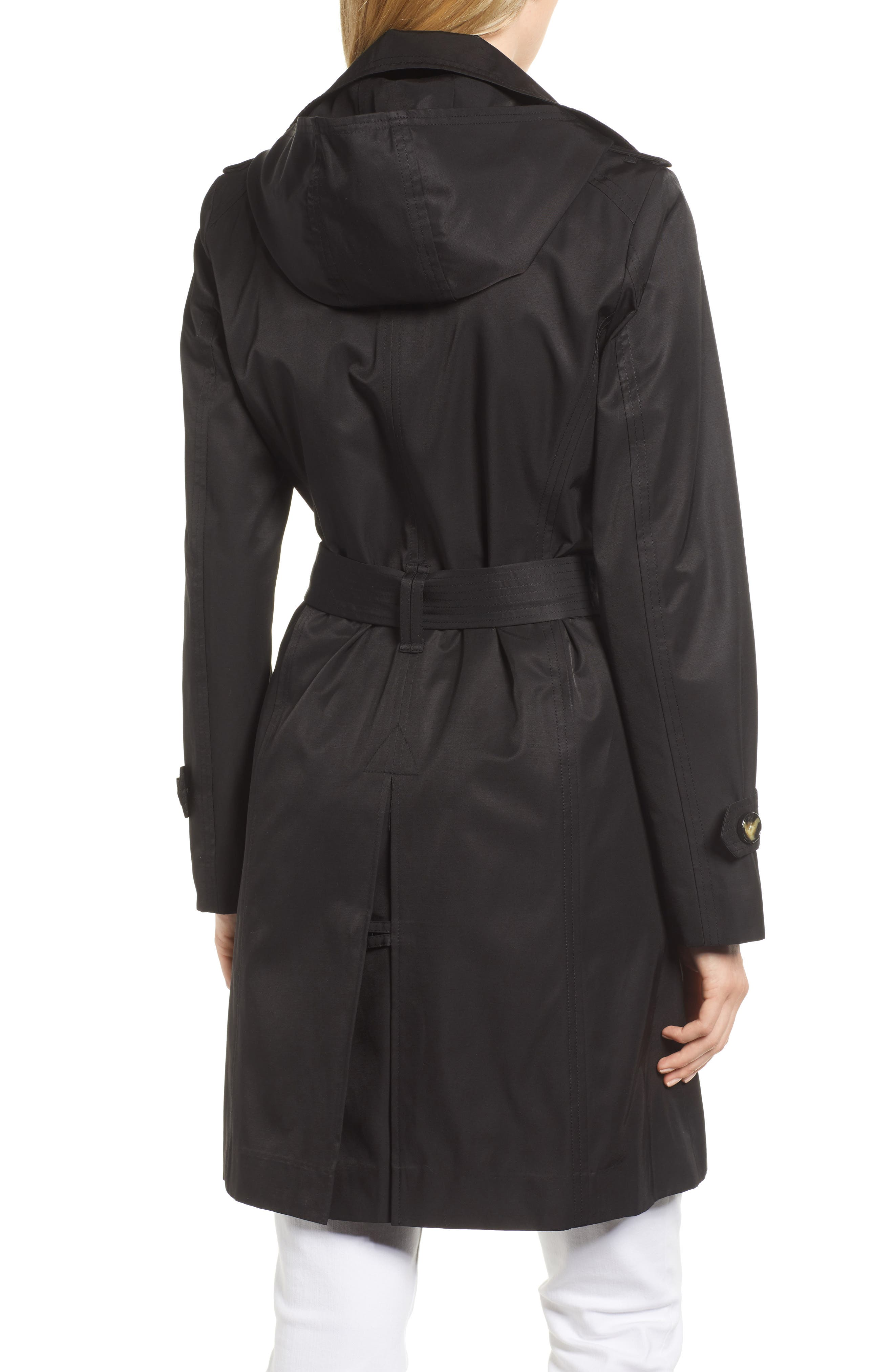 LONDON FOG, Double Breasted Trench Coat, Alternate thumbnail 2, color, BLACK