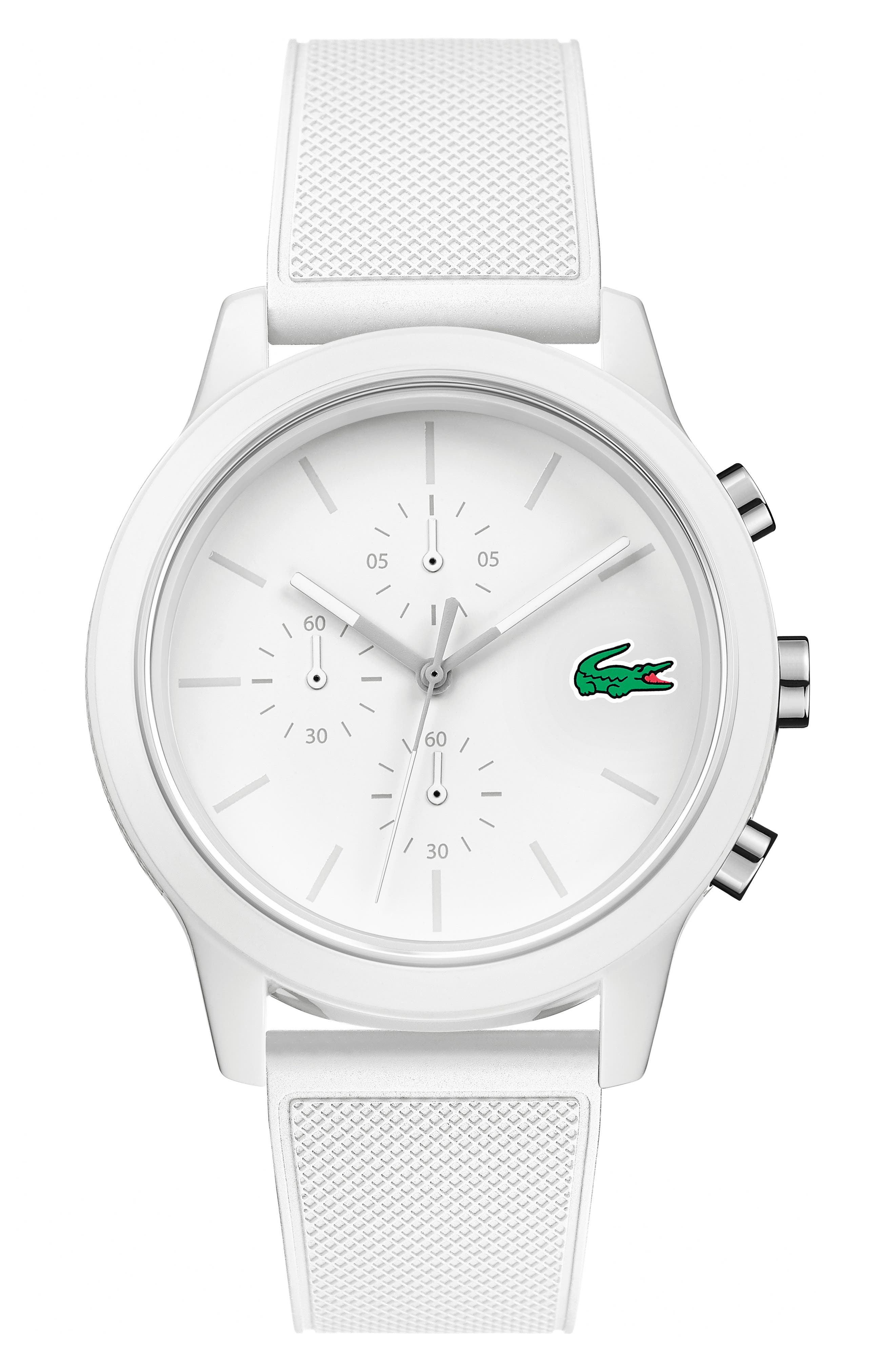 LACOSTE, 12.12 Chronograph Silicone Band Watch, 44mm, Main thumbnail 1, color, WHITE