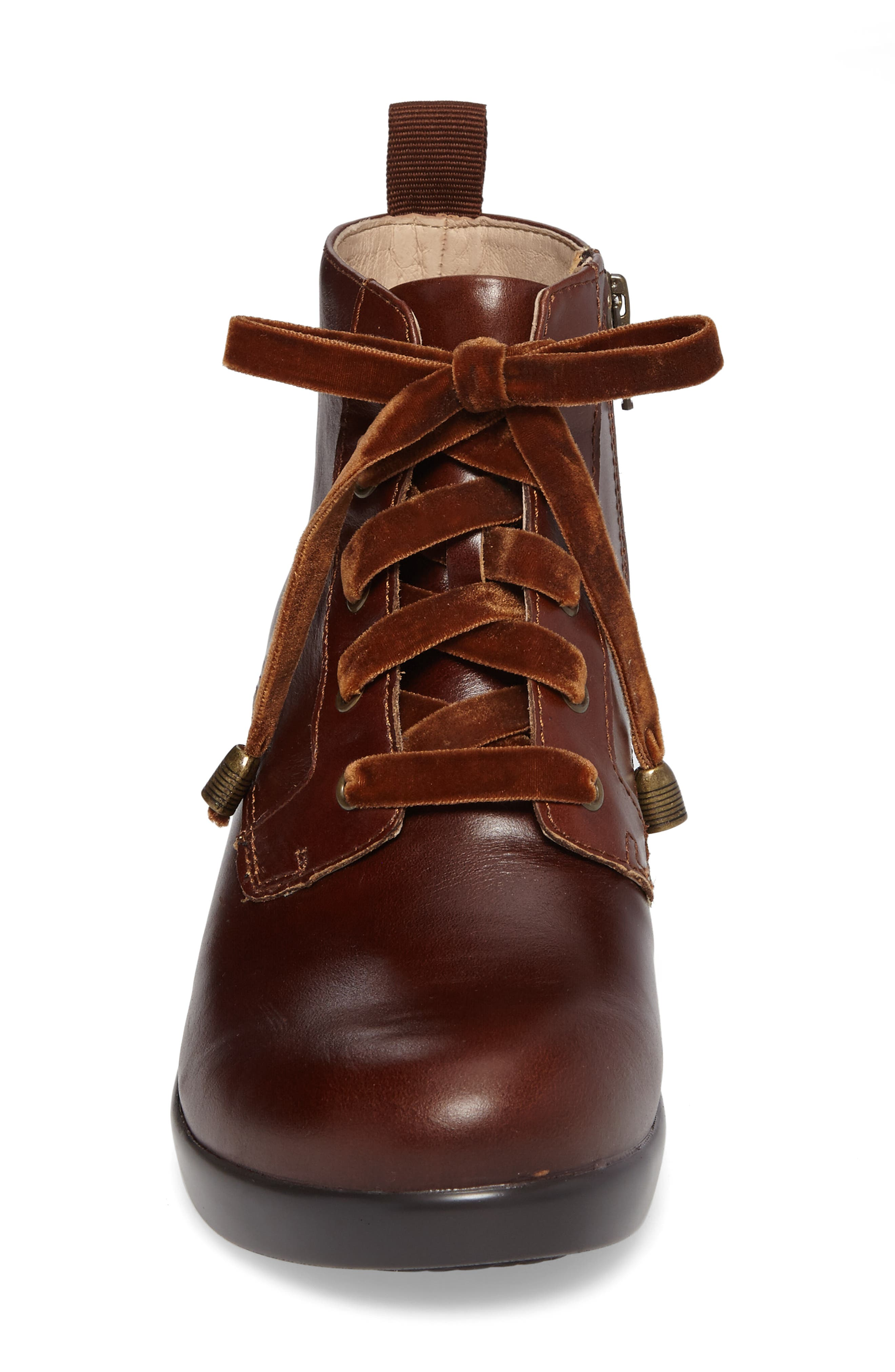 ALEGRIA, Eliza Water Resistant Bootie, Alternate thumbnail 4, color, CHESTNUT LUSTER LEATHER