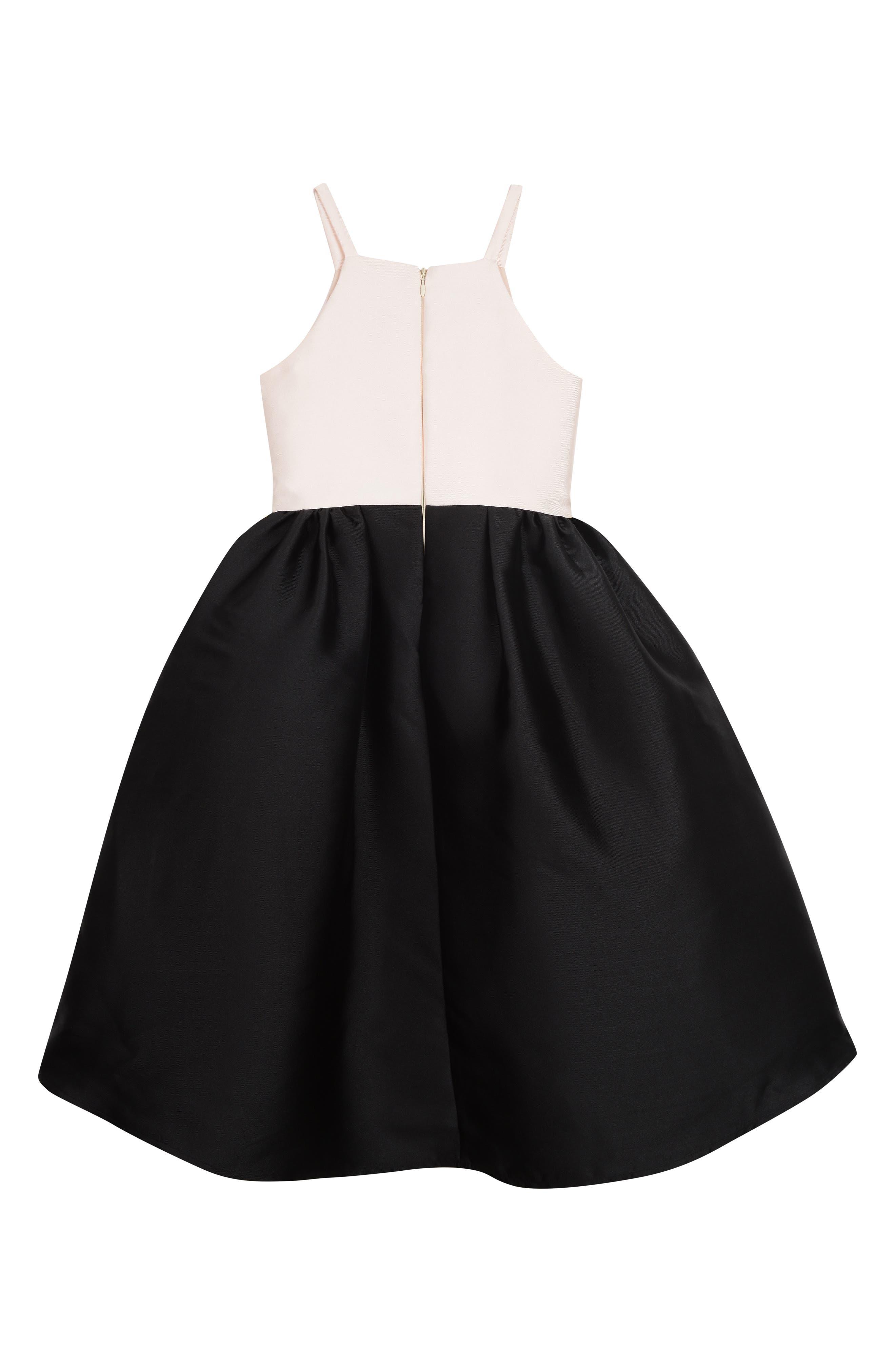 BADGLEY MISCHKA COLLECTION, Badgley Mischka Colorblock Sleeveless Dress, Alternate thumbnail 2, color, BLACK/ IVORY