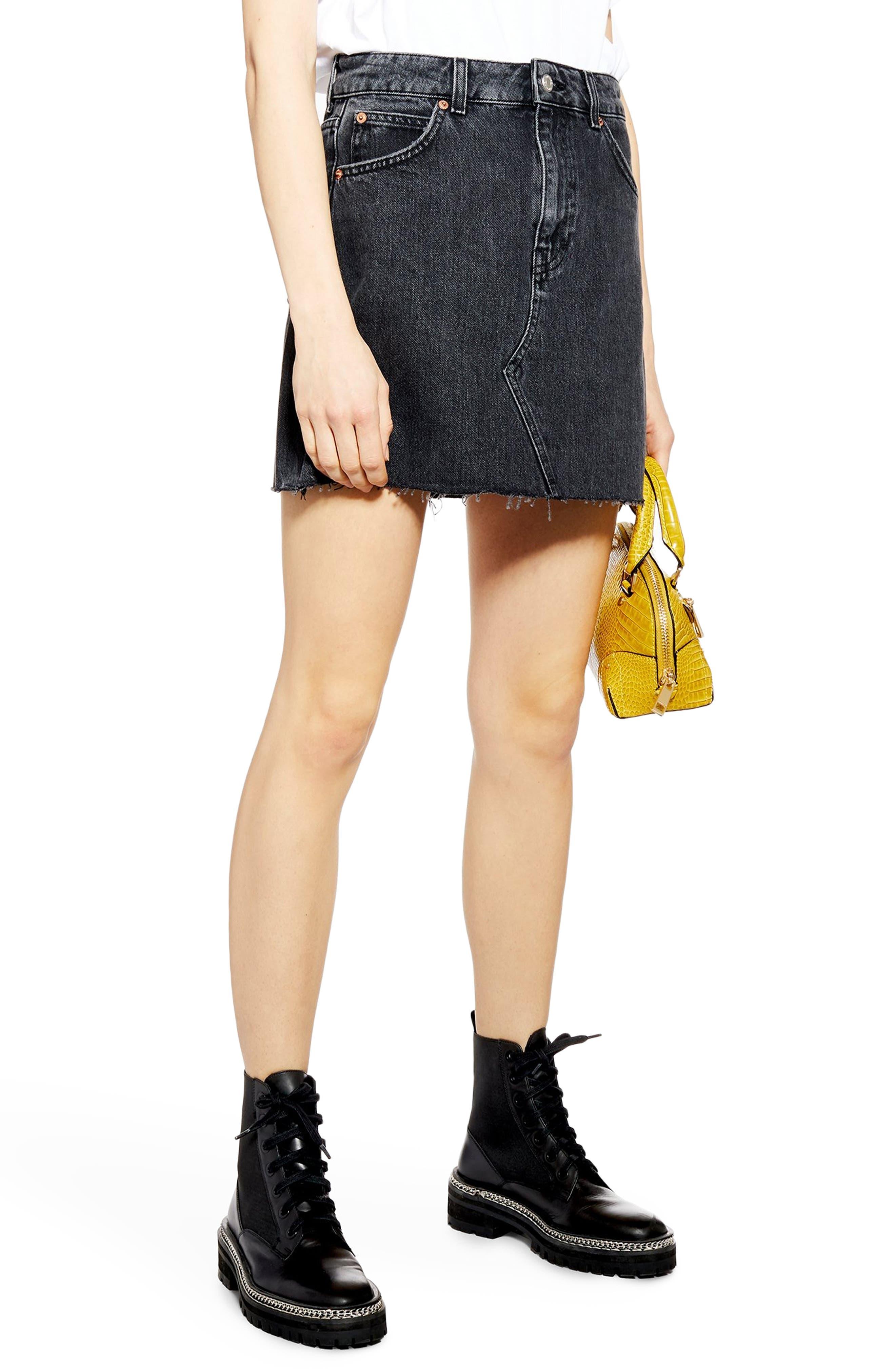 d9e1f28be5 Topshop Black Denim Skirt With Blue Flowers