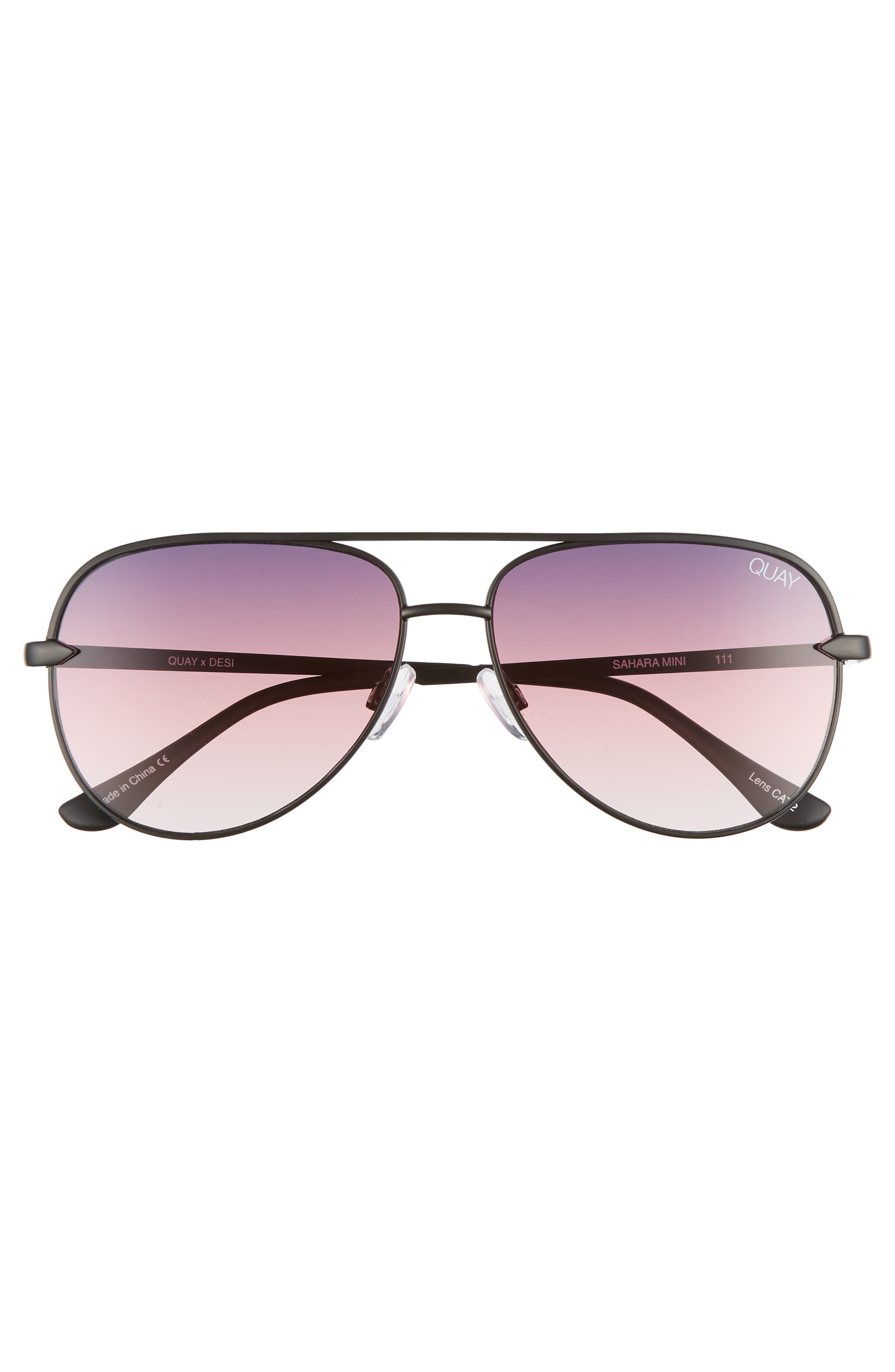 QUAY AUSTRALIA, x Desi Perkins Sahara Mini 52mm Aviator Sunglasses, Alternate thumbnail 3, color, BLACK/ PURPLE FADE