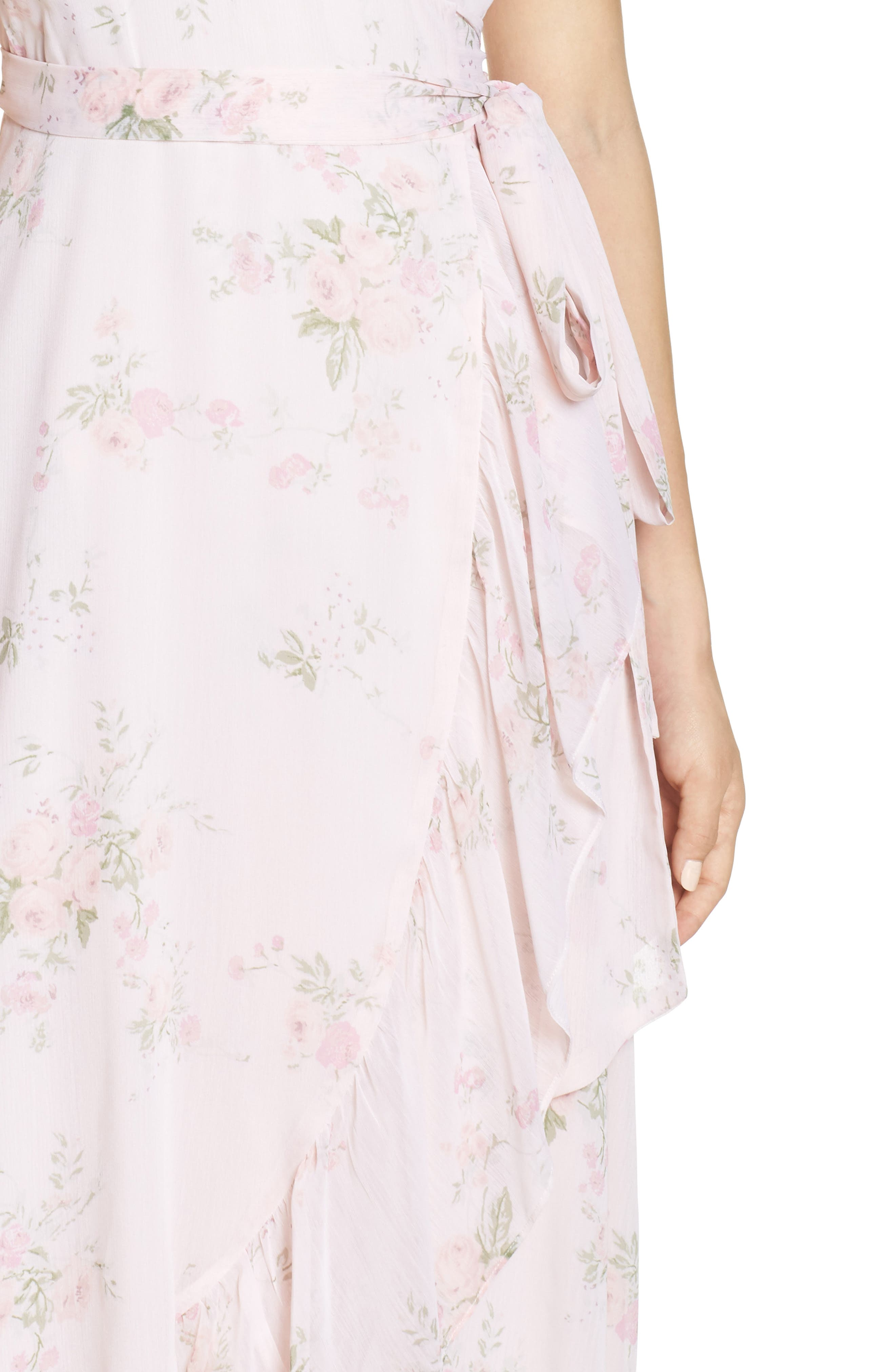 WAYF, The Natasha Floral Wrap Maxi Dress, Alternate thumbnail 5, color, 250