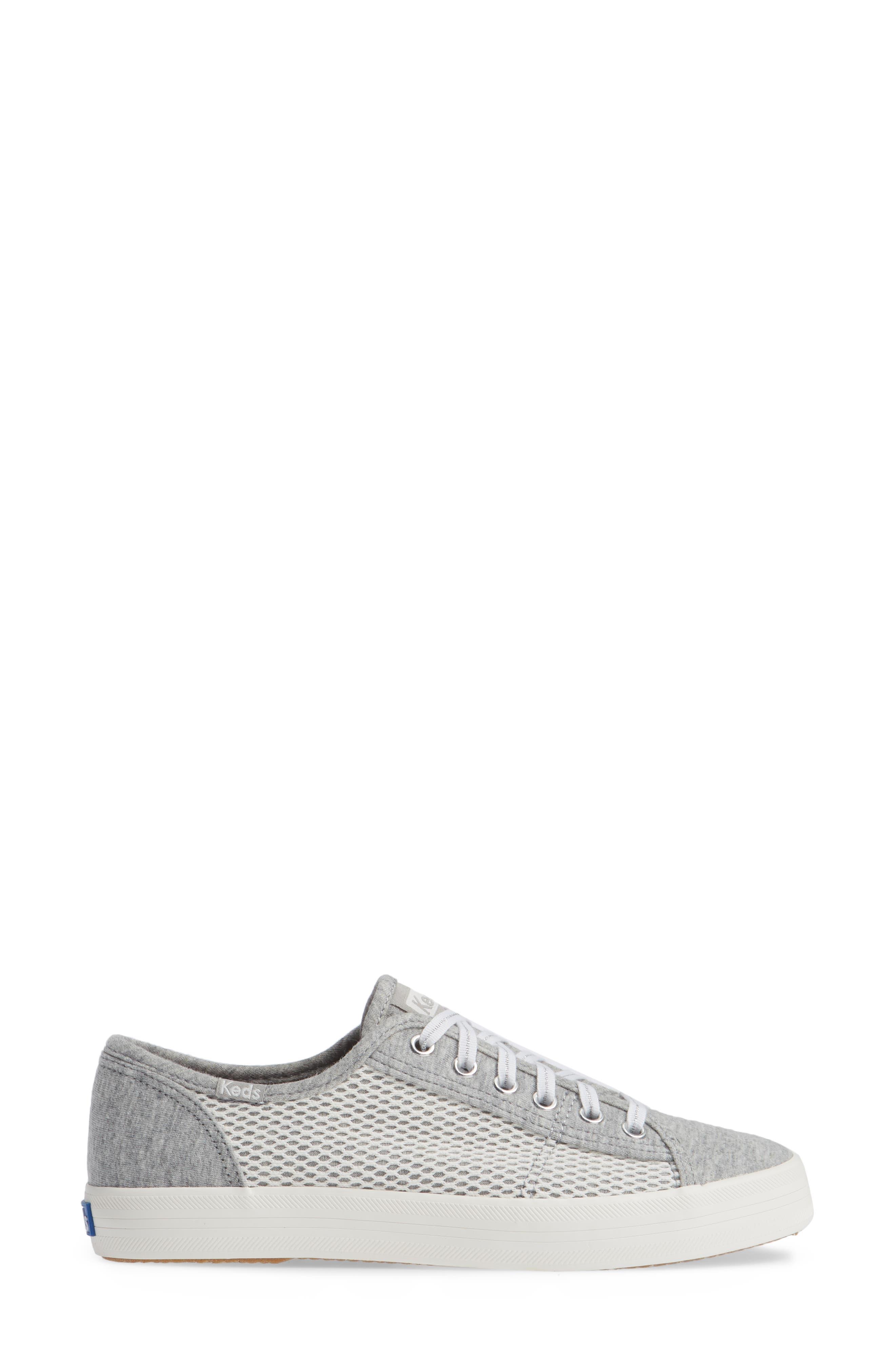 KEDS<SUP>®</SUP>, Kickstart Mesh & Jersey Sneaker, Alternate thumbnail 3, color, LIGHT GRAY