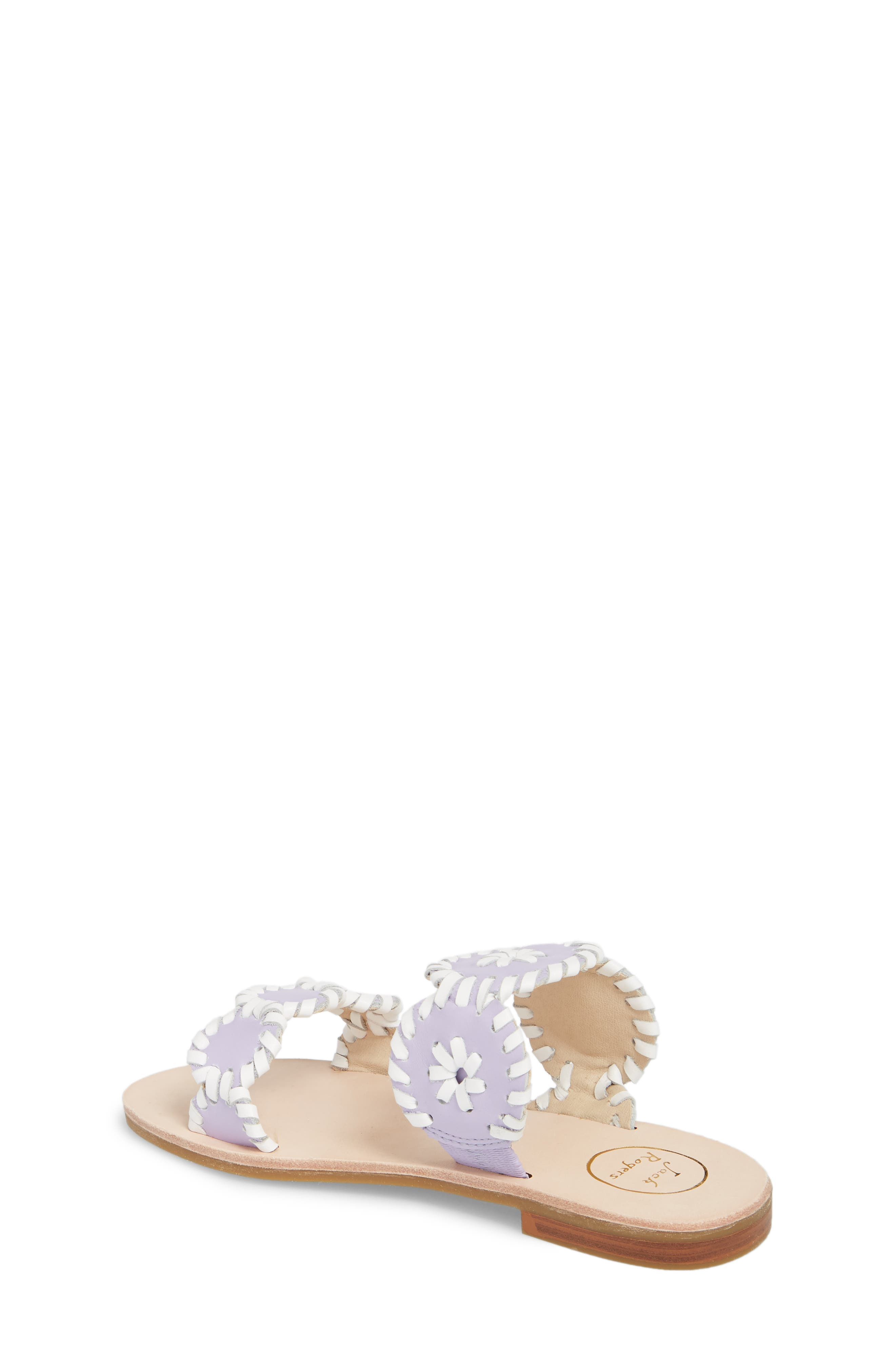JACK ROGERS, Miss Lauren Sandal, Alternate thumbnail 2, color, LILAC/ WHITE LEATHER