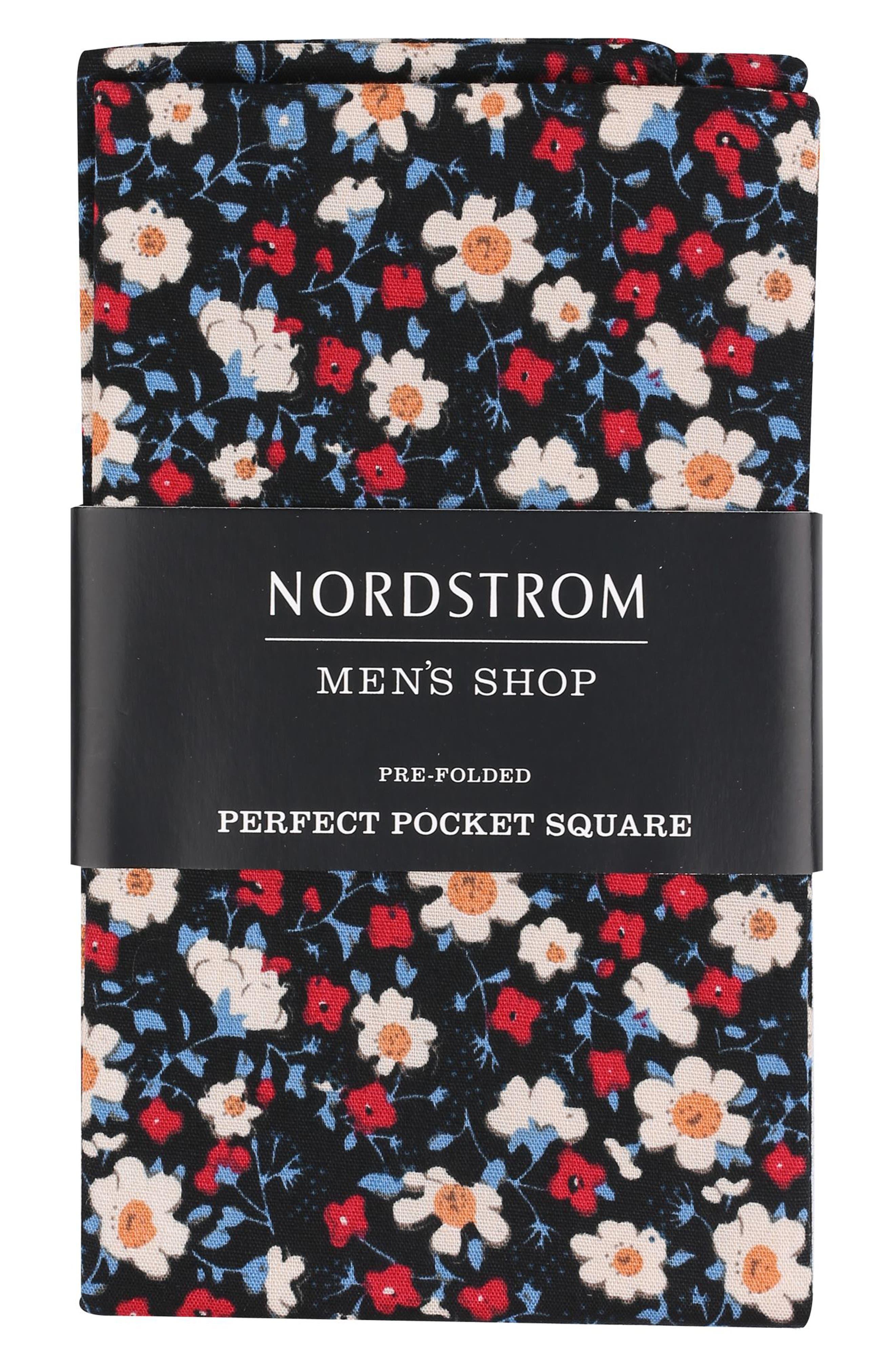 NORDSTROM MEN'S SHOP The Perfect Pre-Folded Pocket Square, Main, color, 001