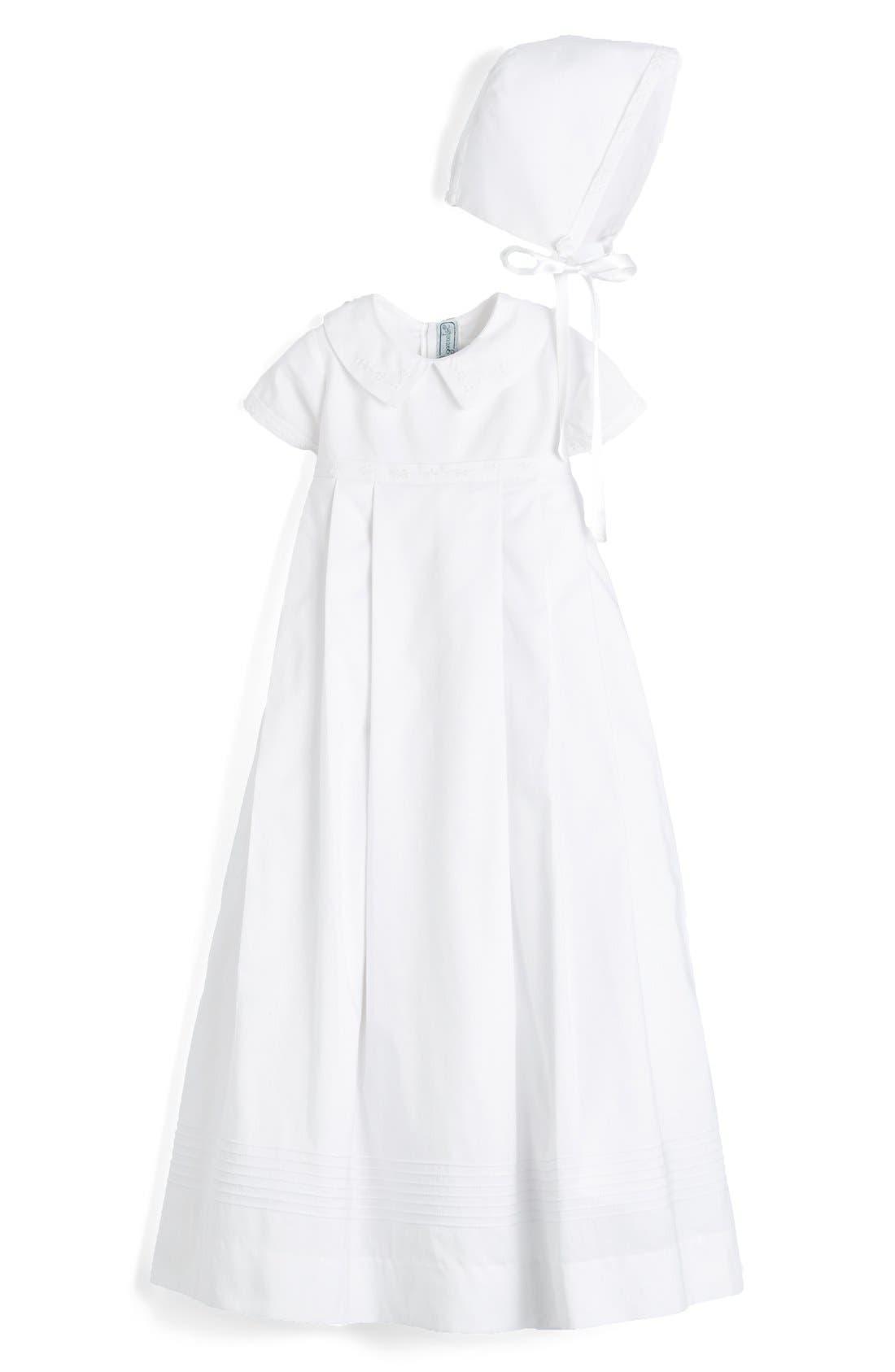 ISABEL GARRETON, 'Classic' Christening Gown & Bonnet, Main thumbnail 1, color, WHITE