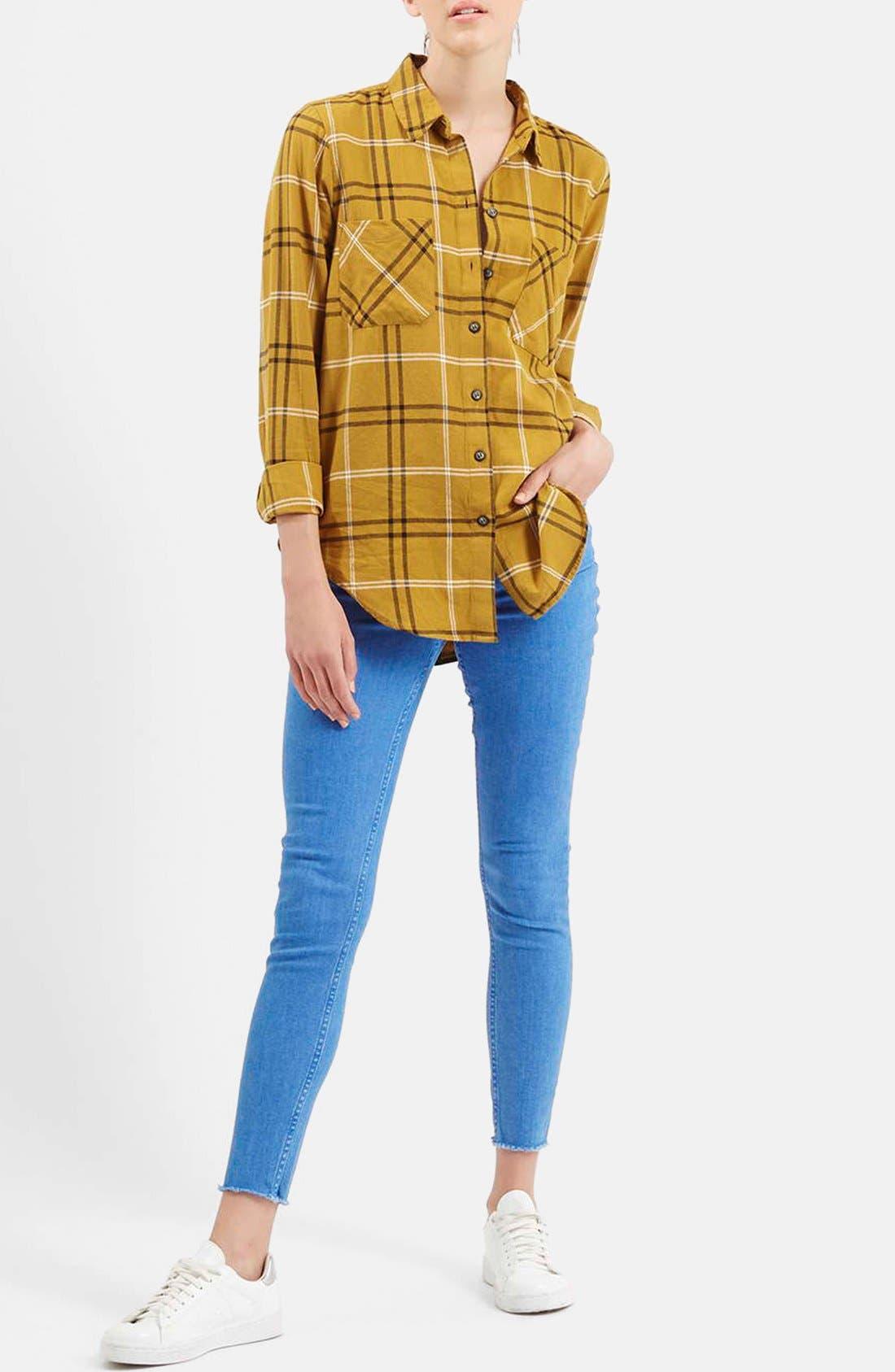TOPSHOP, 'Billie' Check Button FrontBoyfriend Shirt, Alternate thumbnail 3, color, 701