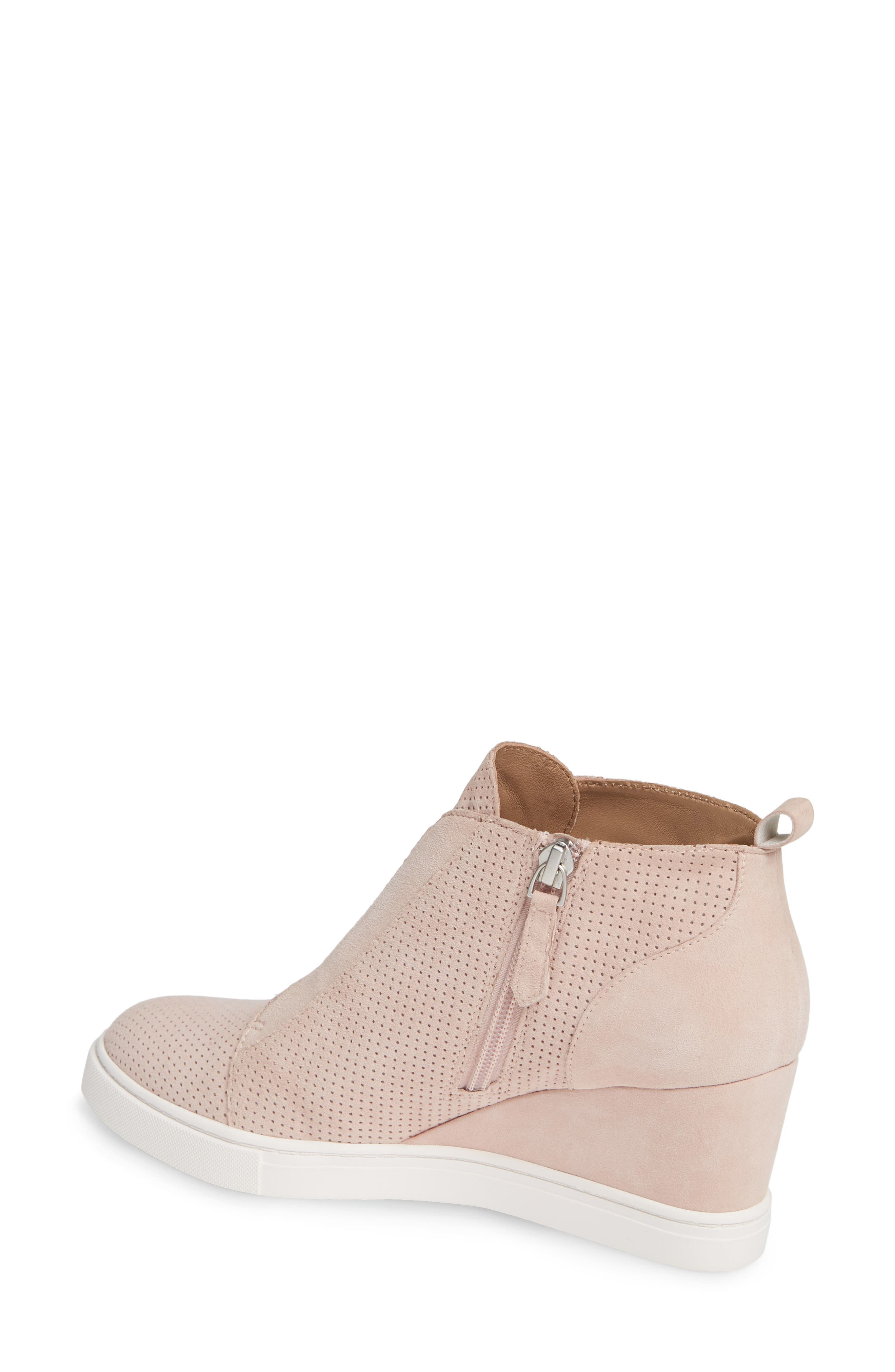 LINEA PAOLO, Felicia Wedge Bootie, Alternate thumbnail 2, color, BLUSH PERFORATED SUEDE