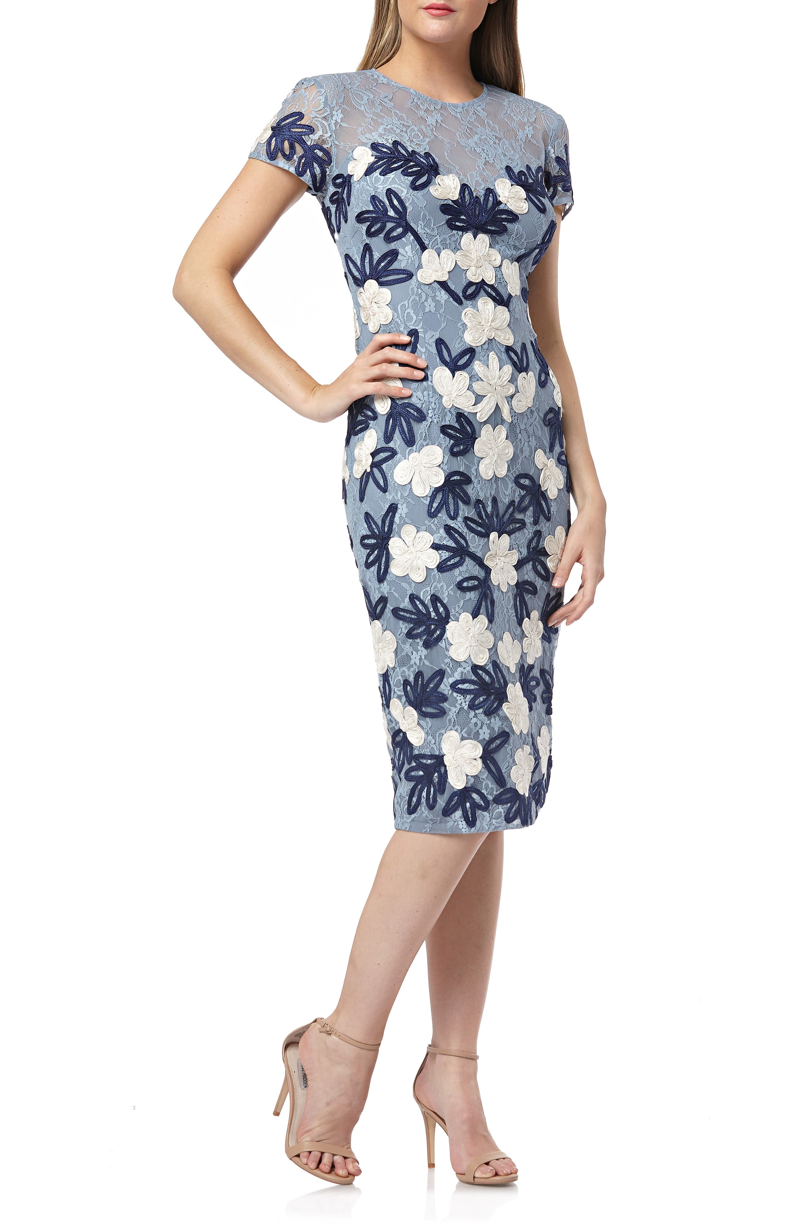 Js Collections Floral Two Tone Embroidered Dress, Blue
