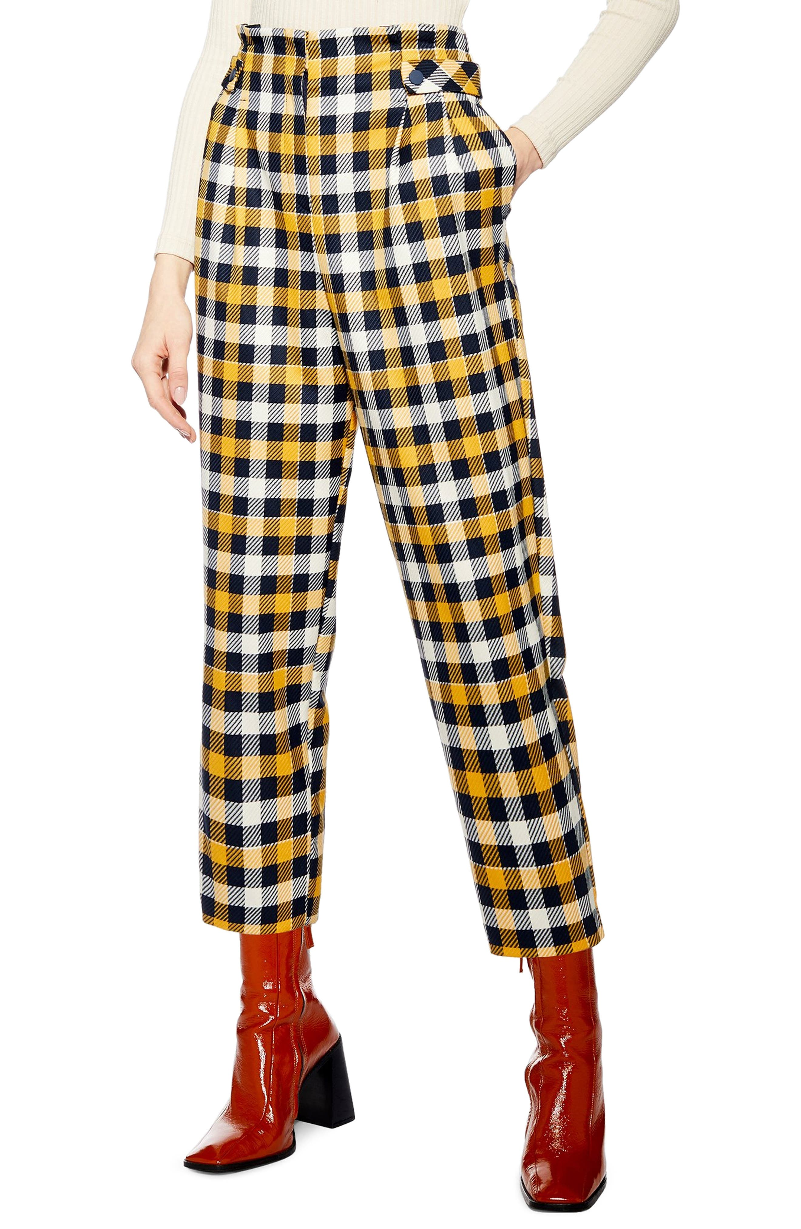 TOPSHOP, Tara Check Twill Crop Trousers, Main thumbnail 1, color, YELLOW MULTI