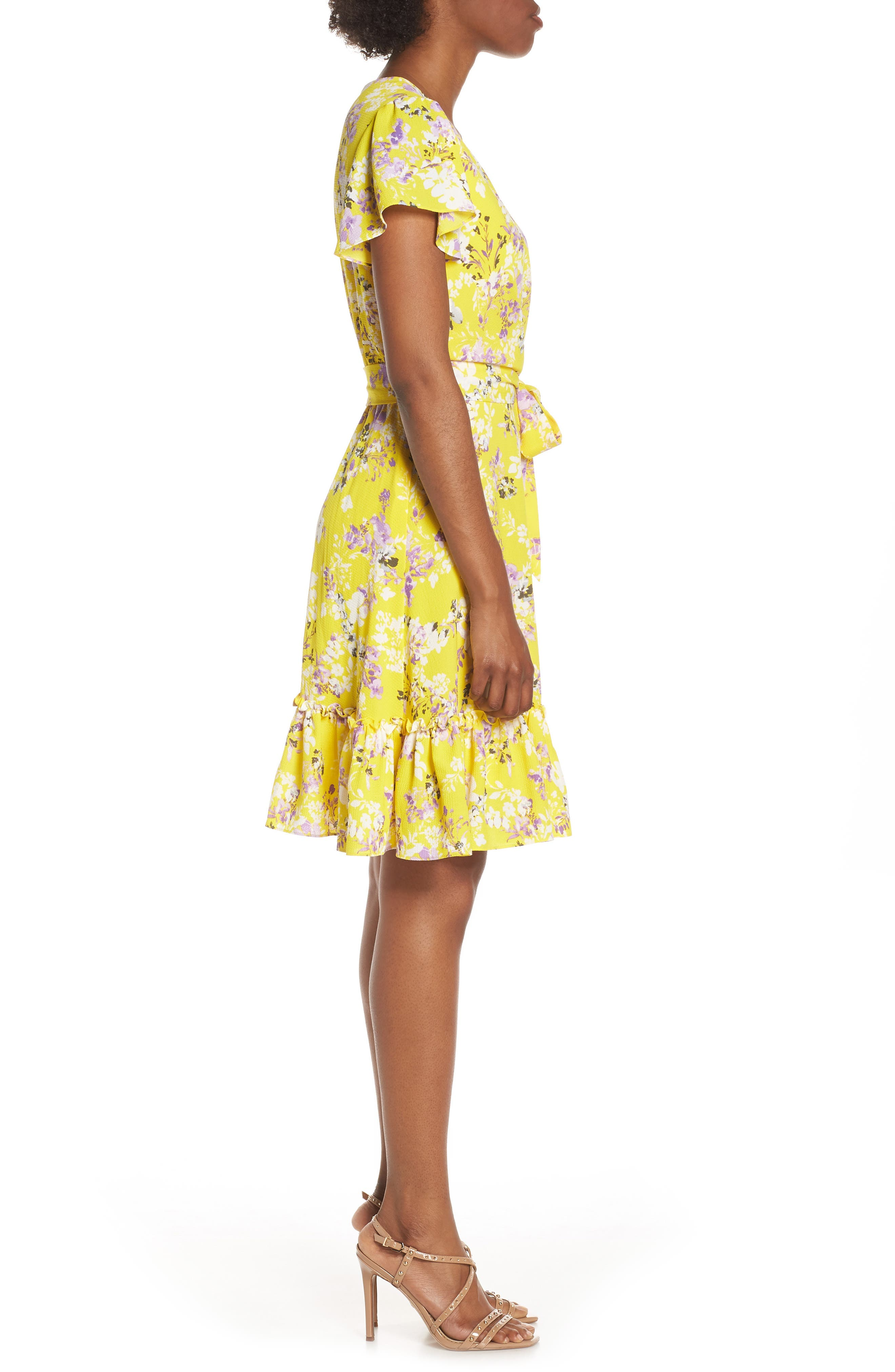 JULIA JORDAN, Floral Wrap Dress, Alternate thumbnail 4, color, YELLOW MULTI