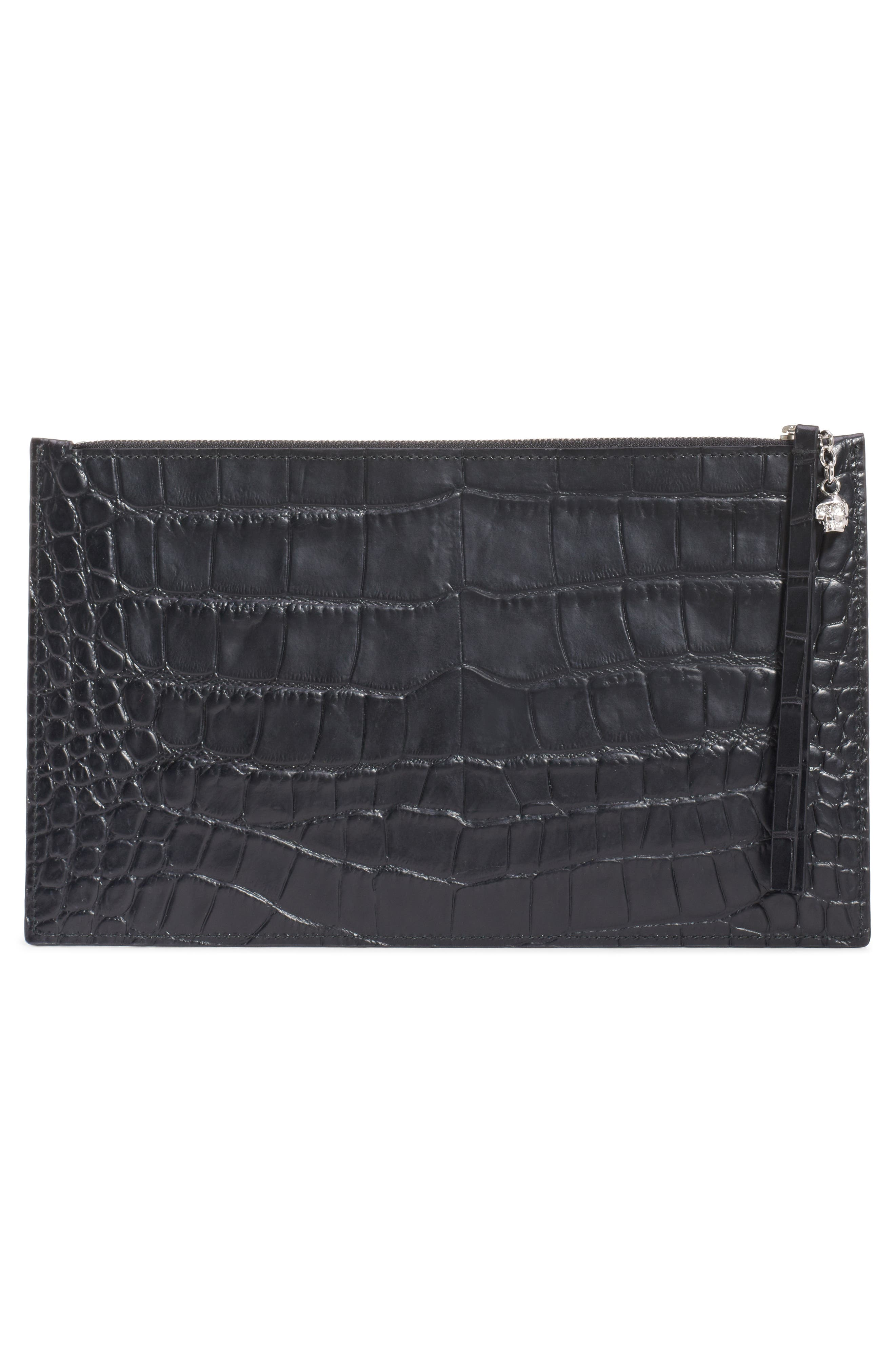 ALEXANDER MCQUEEN, Croc Embossed Leather Pouch, Alternate thumbnail 3, color, BLACK