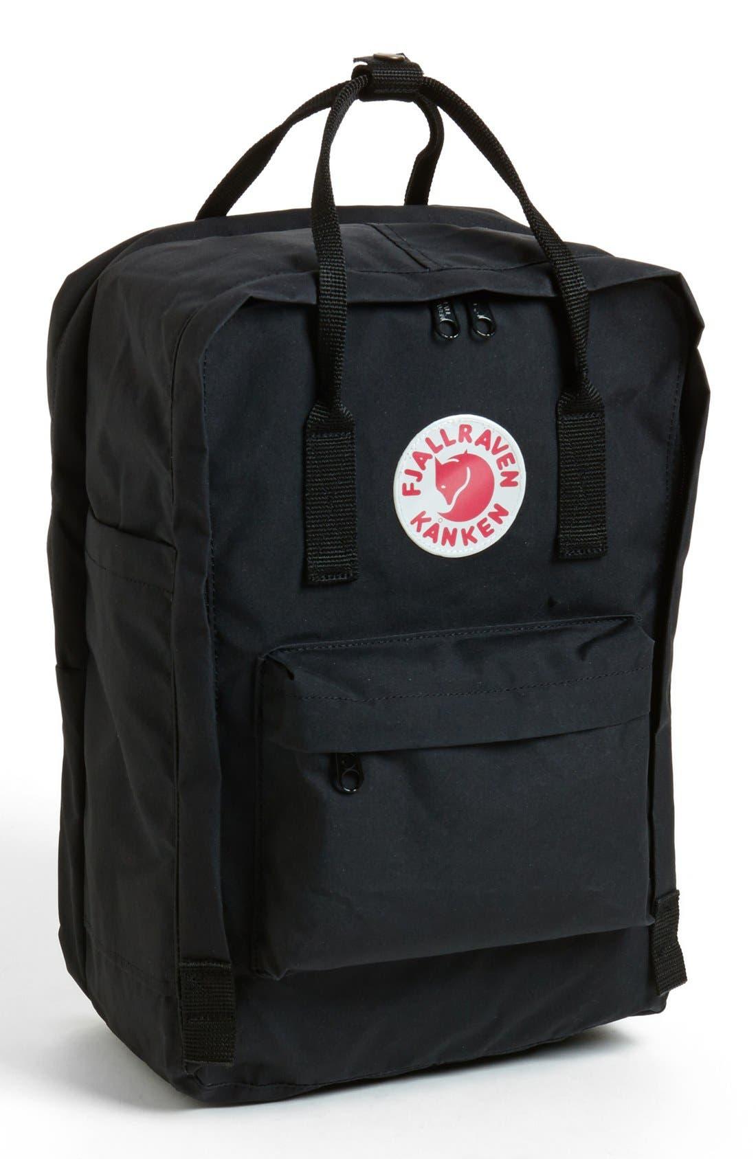 FJÄLLRÄVEN, 'Kånken' Laptop Backpack, Main thumbnail 1, color, BLACK