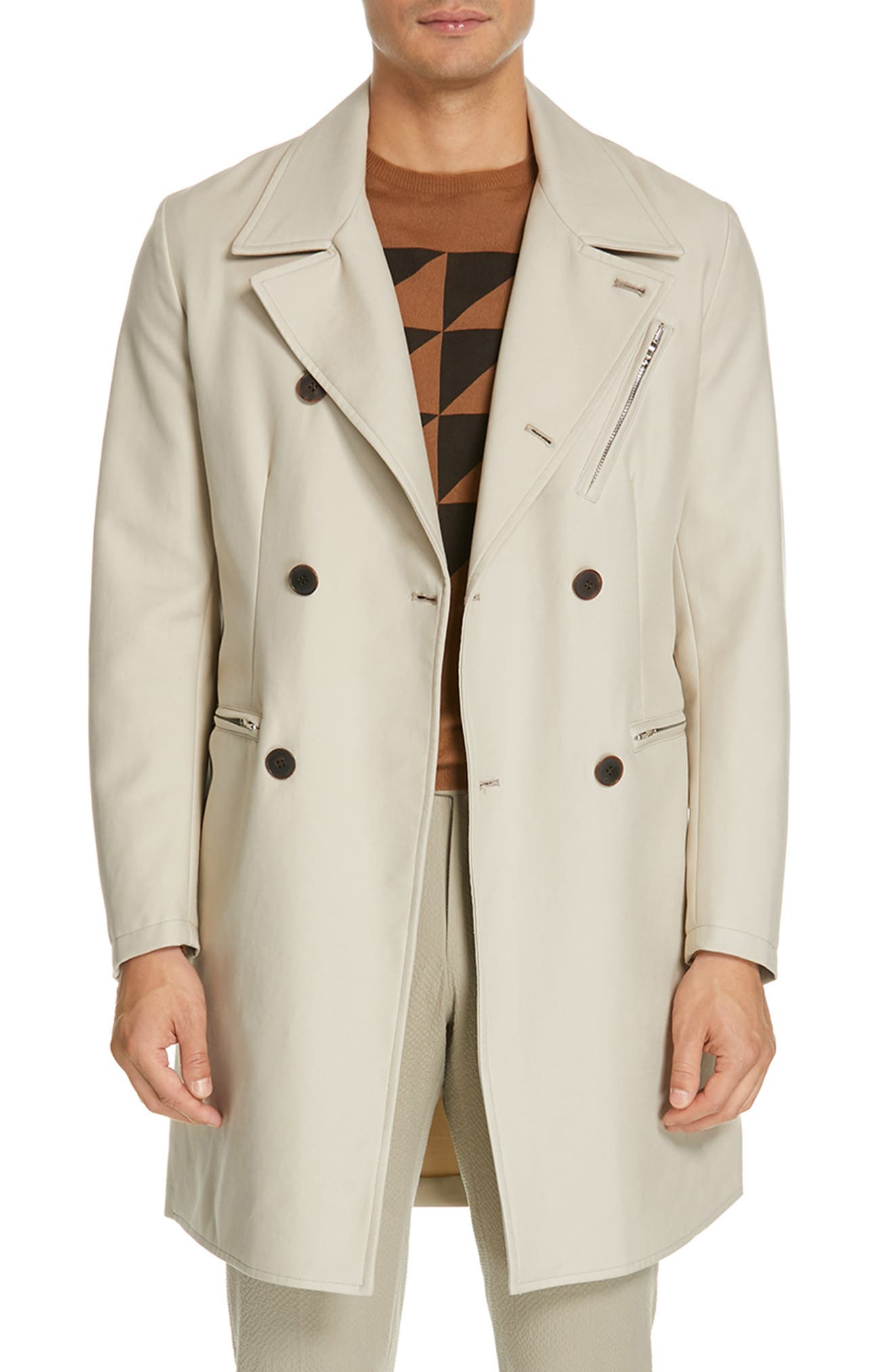 EIDOS Moto Cotton Trench Coat, Main, color, TAN