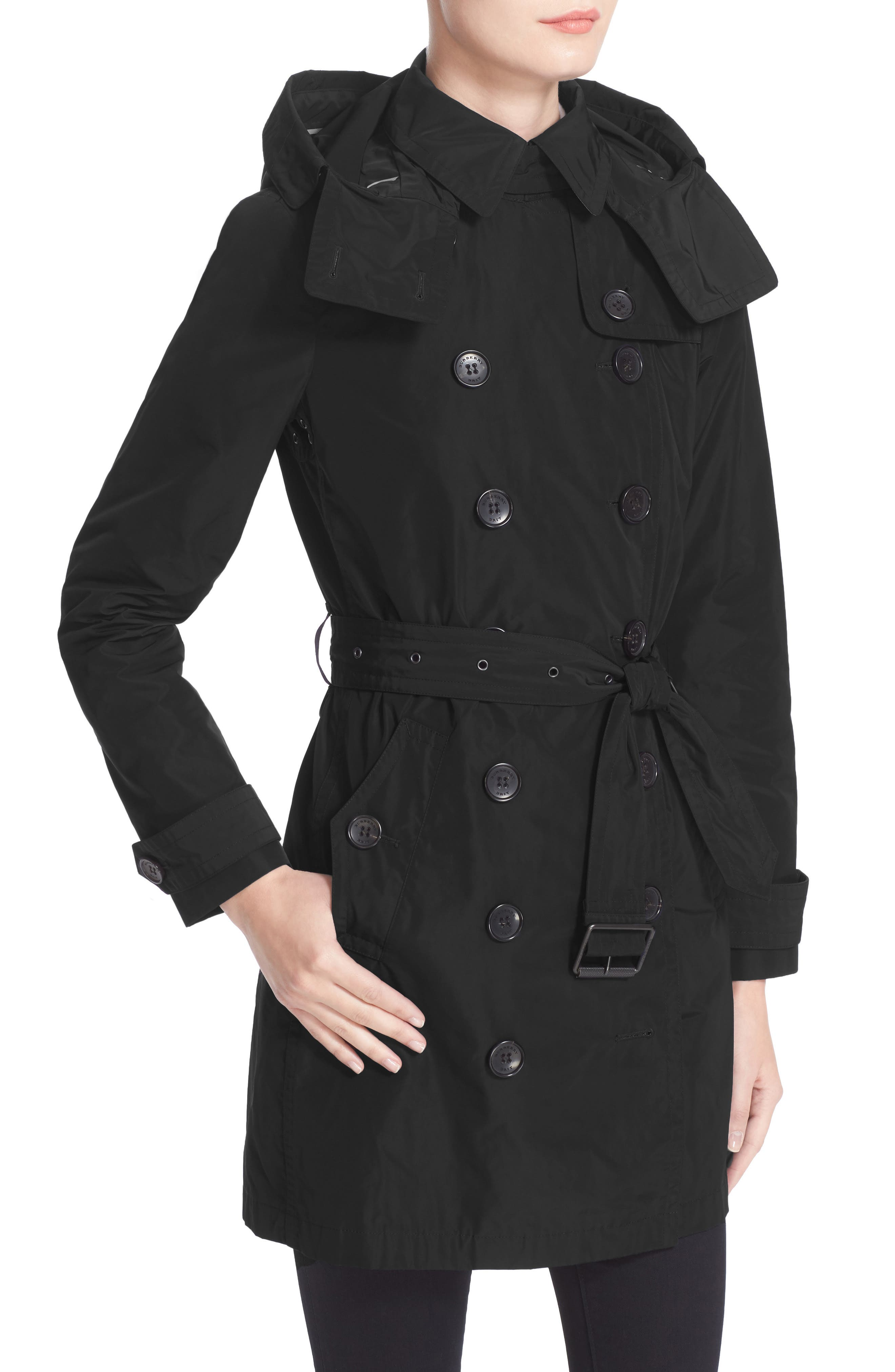 BURBERRY, Balmoral Packable Trench, Alternate thumbnail 6, color, 001