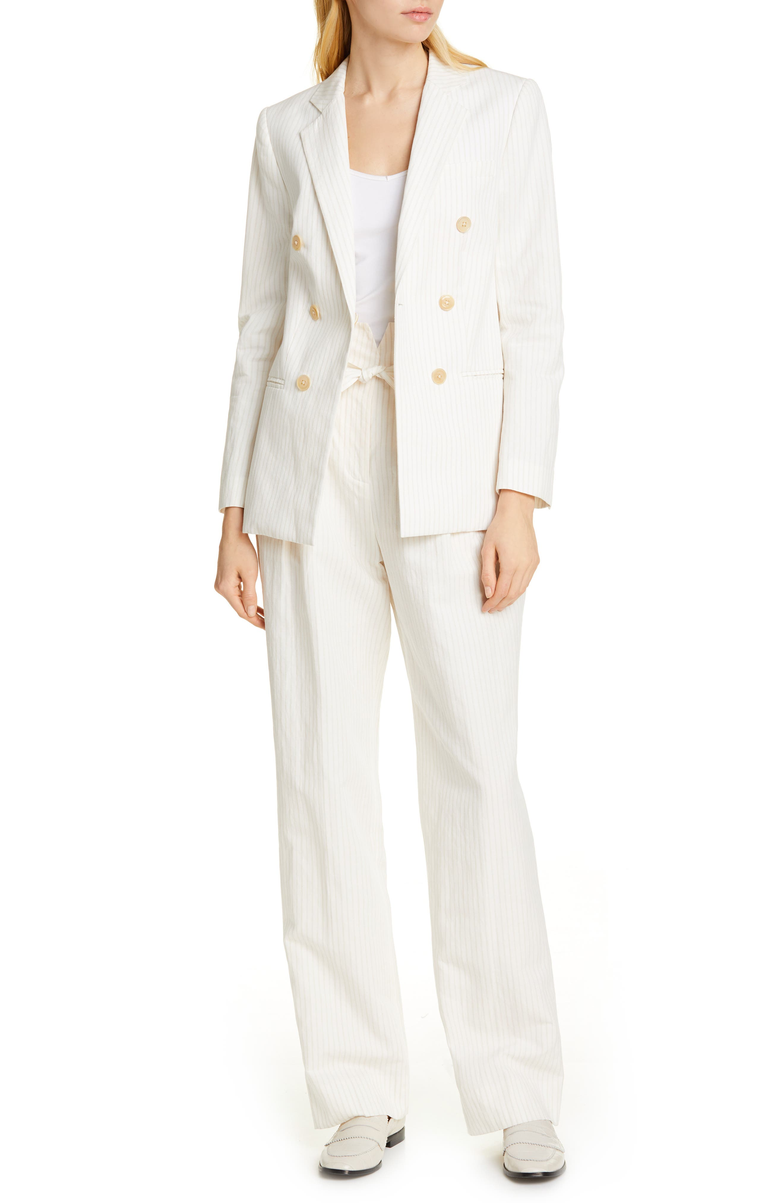 REBECCA TAYLOR, Pinstripe Belted Wide Leg Pants, Alternate thumbnail 8, color, SNOW COMBO