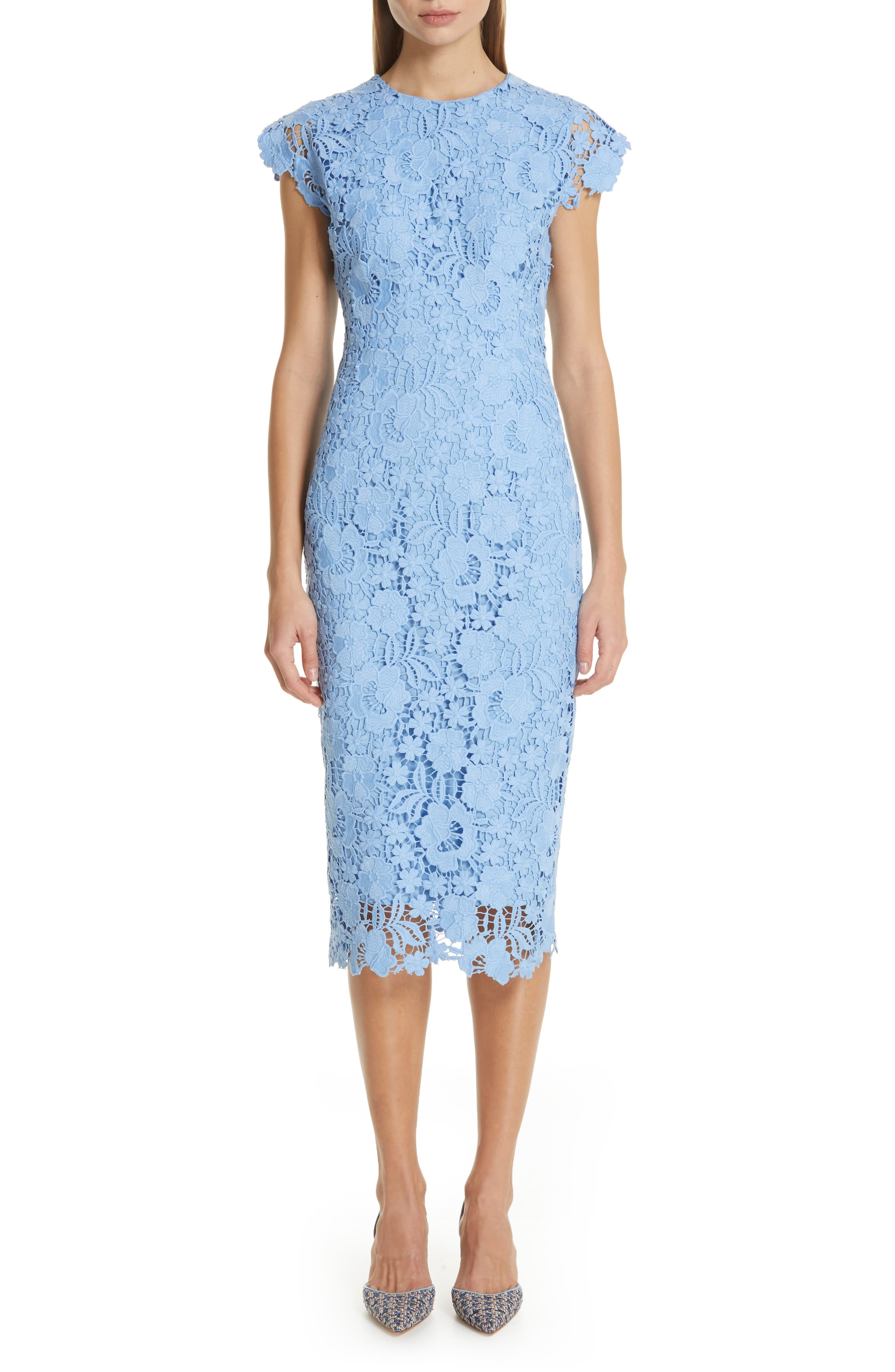 Lela Rose Fitted Floral Guipure Lace Dress, Blue