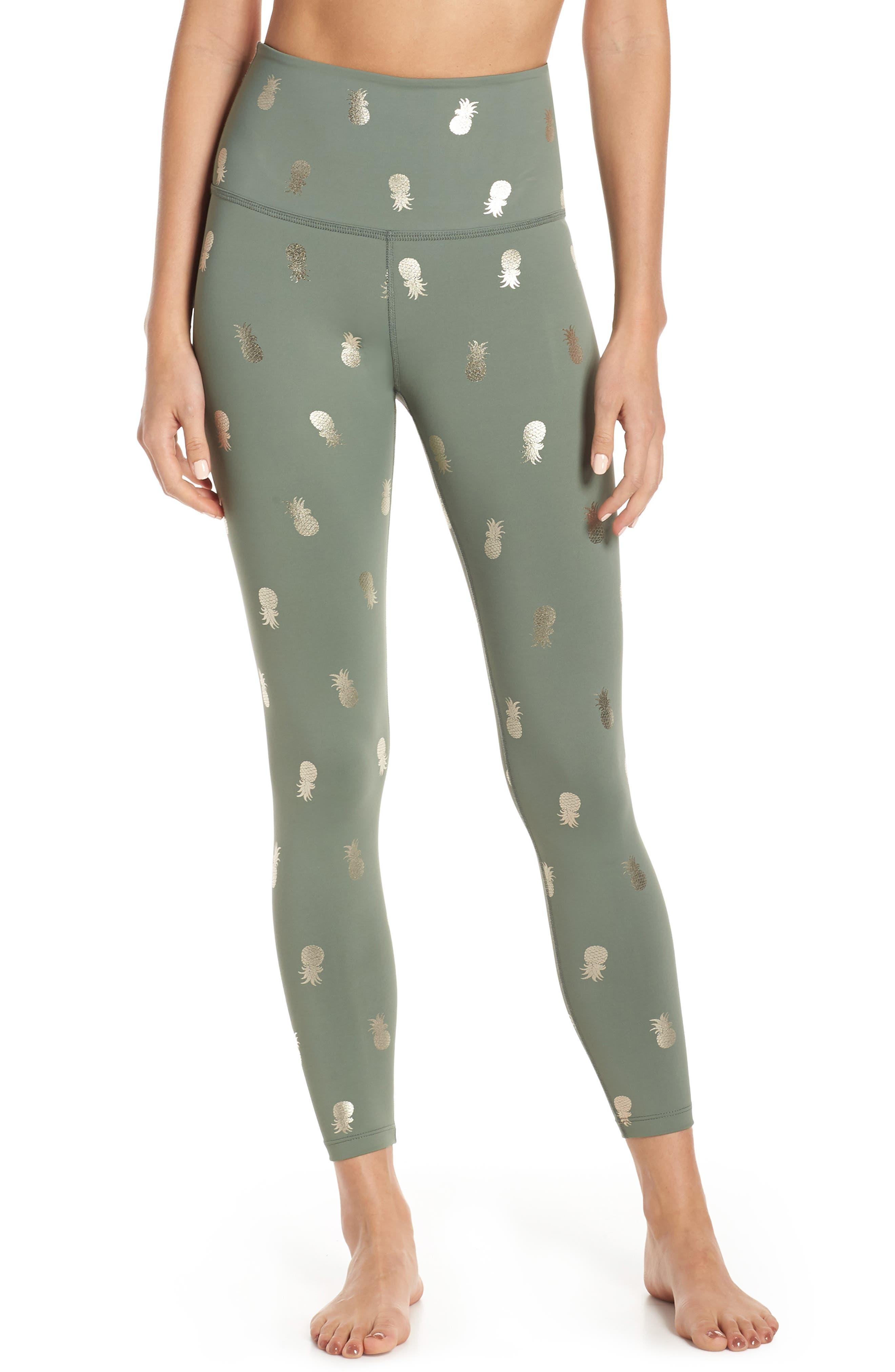 BEYOND YOGA Pineapple Midi Leggings, Main, color, ALOHA GREEN PINEAPPLES