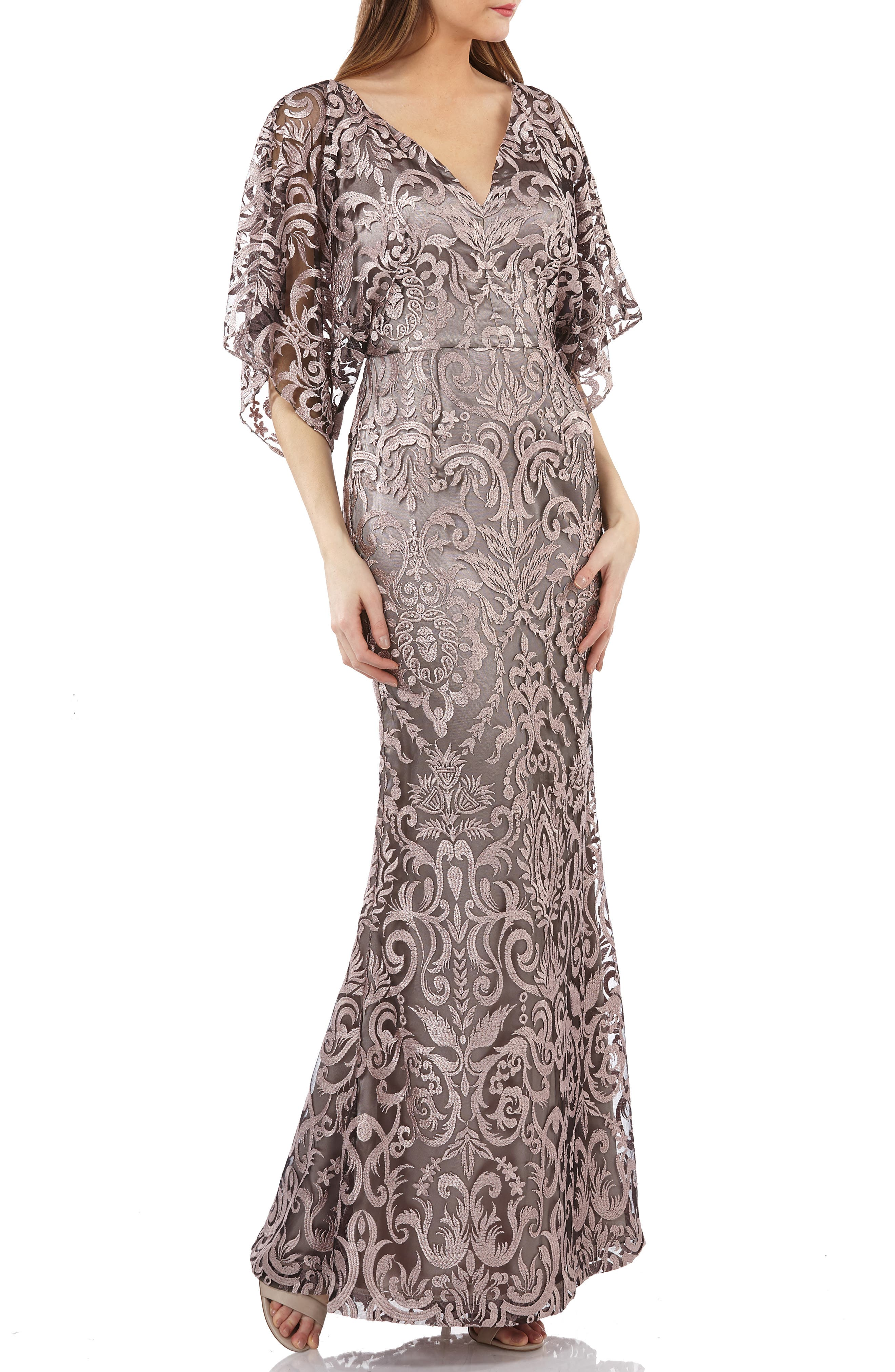 Js Collections Embroidered Lace Evening Dress, Pink