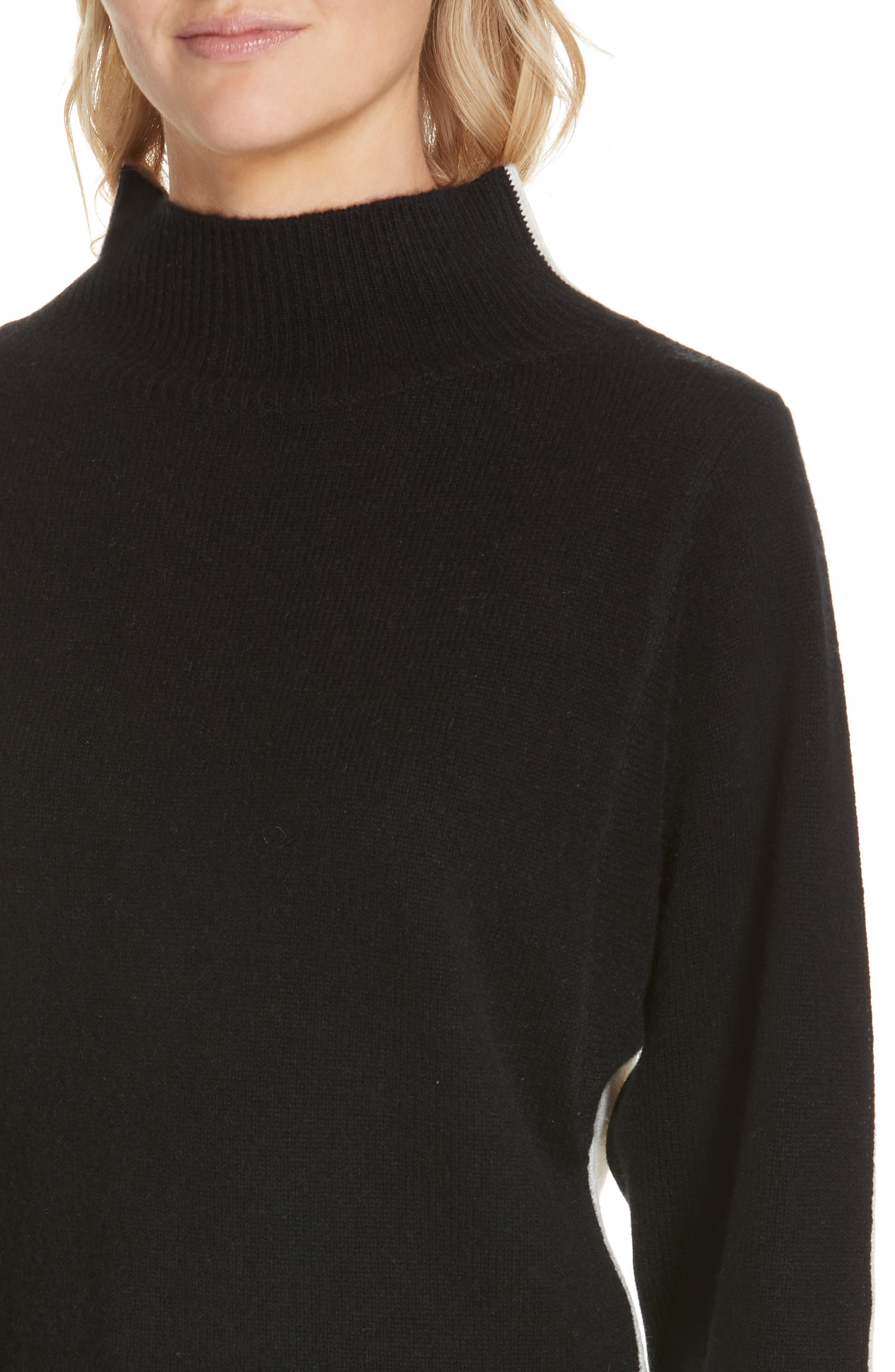 NORDSTROM SIGNATURE, Colorblock Cashmere Sweater, Alternate thumbnail 4, color, BLACK- IVORY COMBO