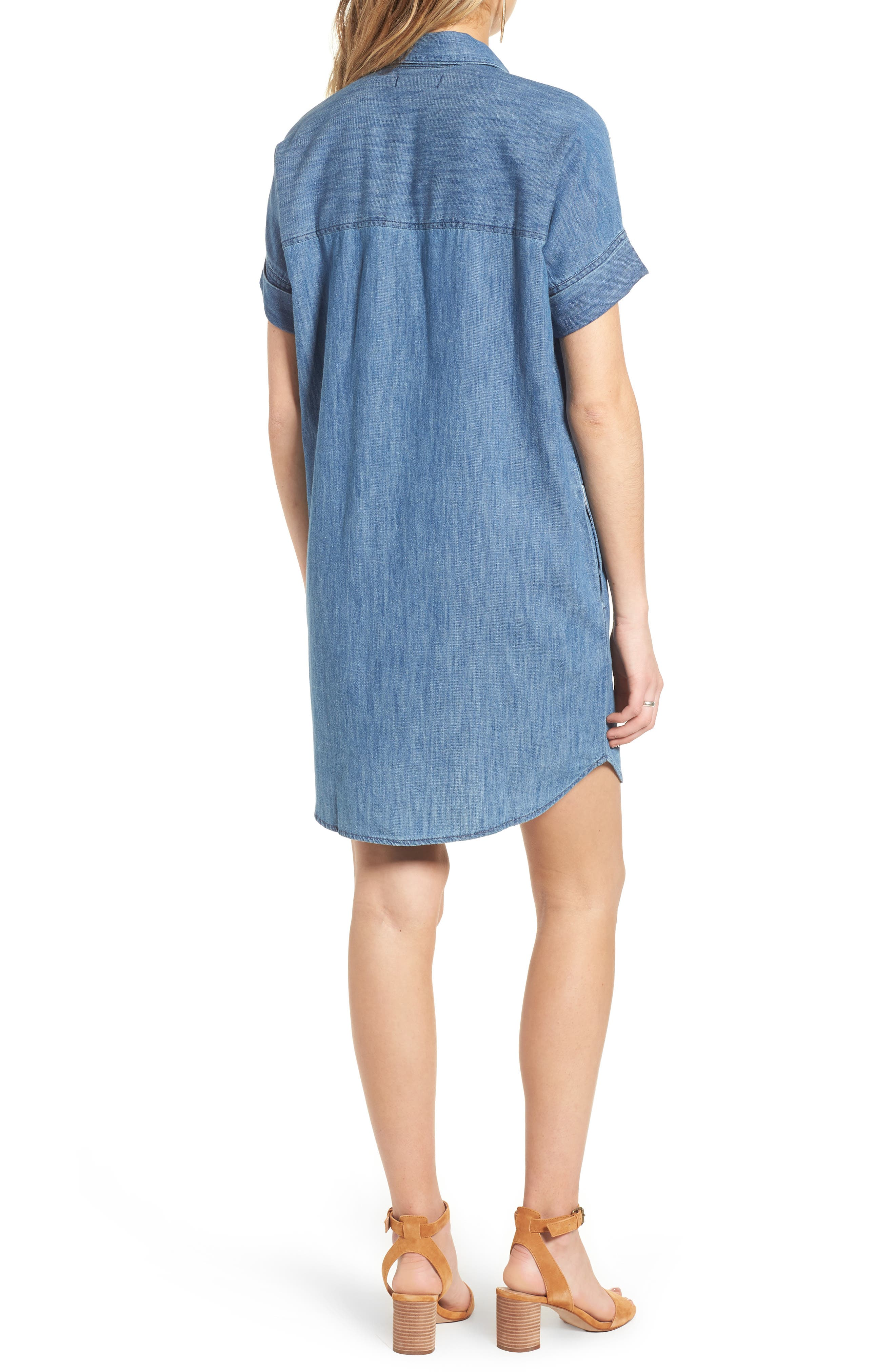MADEWELL, Courier Denim Shirtdress, Alternate thumbnail 2, color, 400