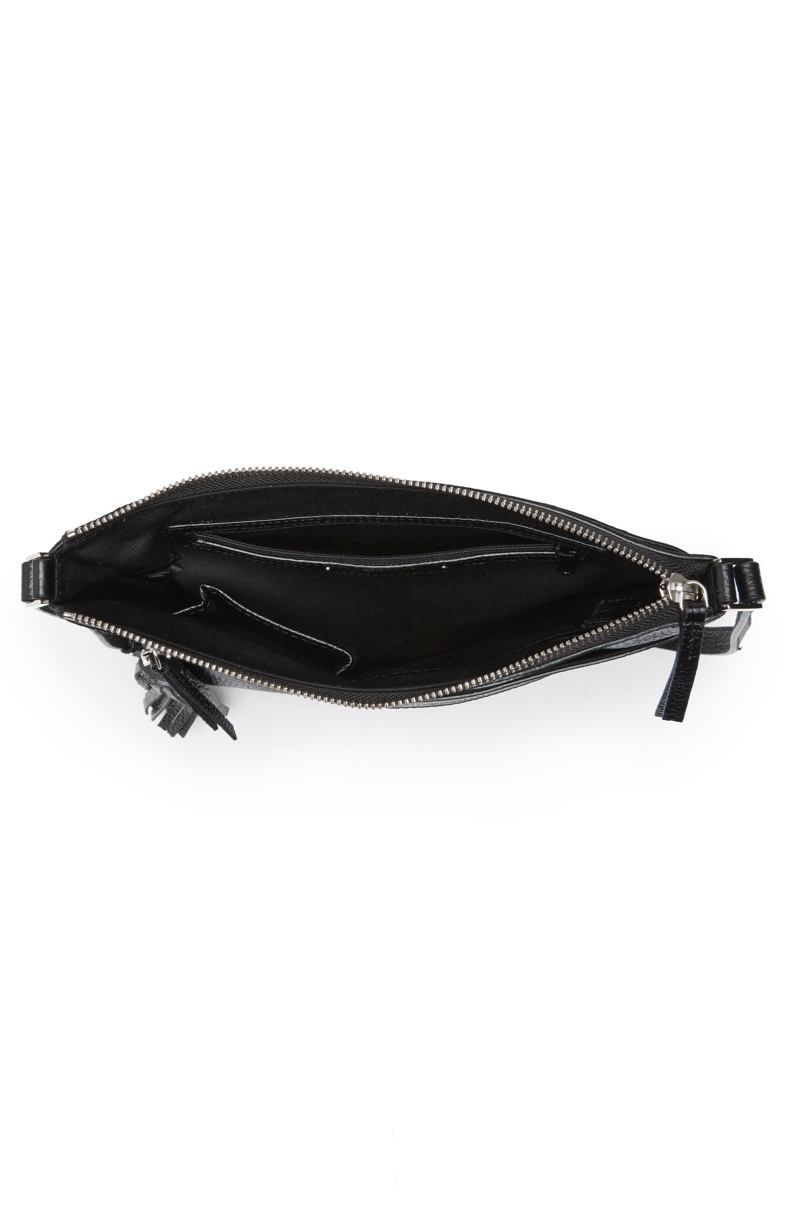 HALOGEN<SUP>®</SUP>, Tasseled Leather Crossbody Bag, Alternate thumbnail 6, color, 001