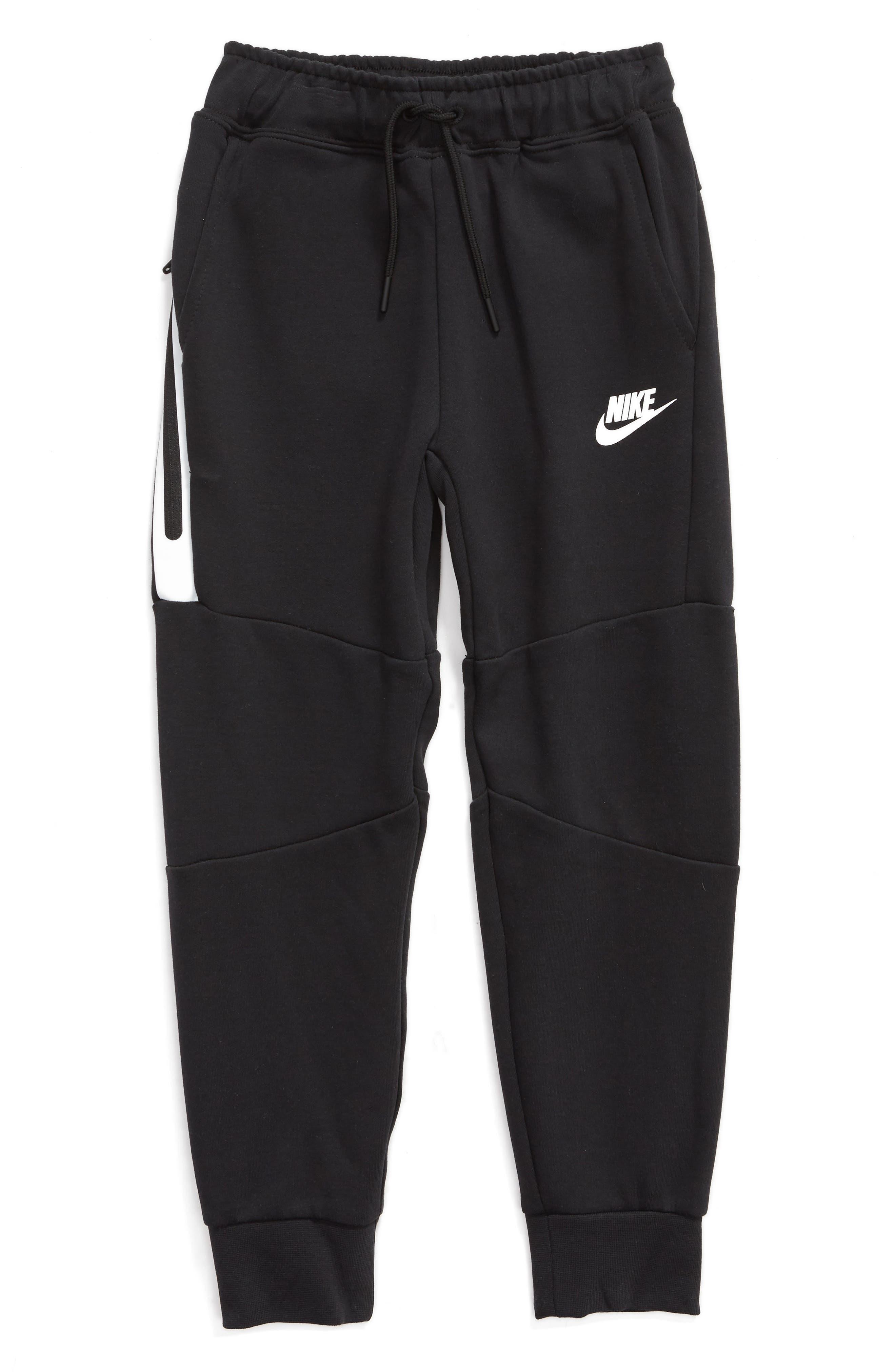 NIKE, Tech Fleece Sweatpants, Main thumbnail 1, color, BLACK/ WHITE