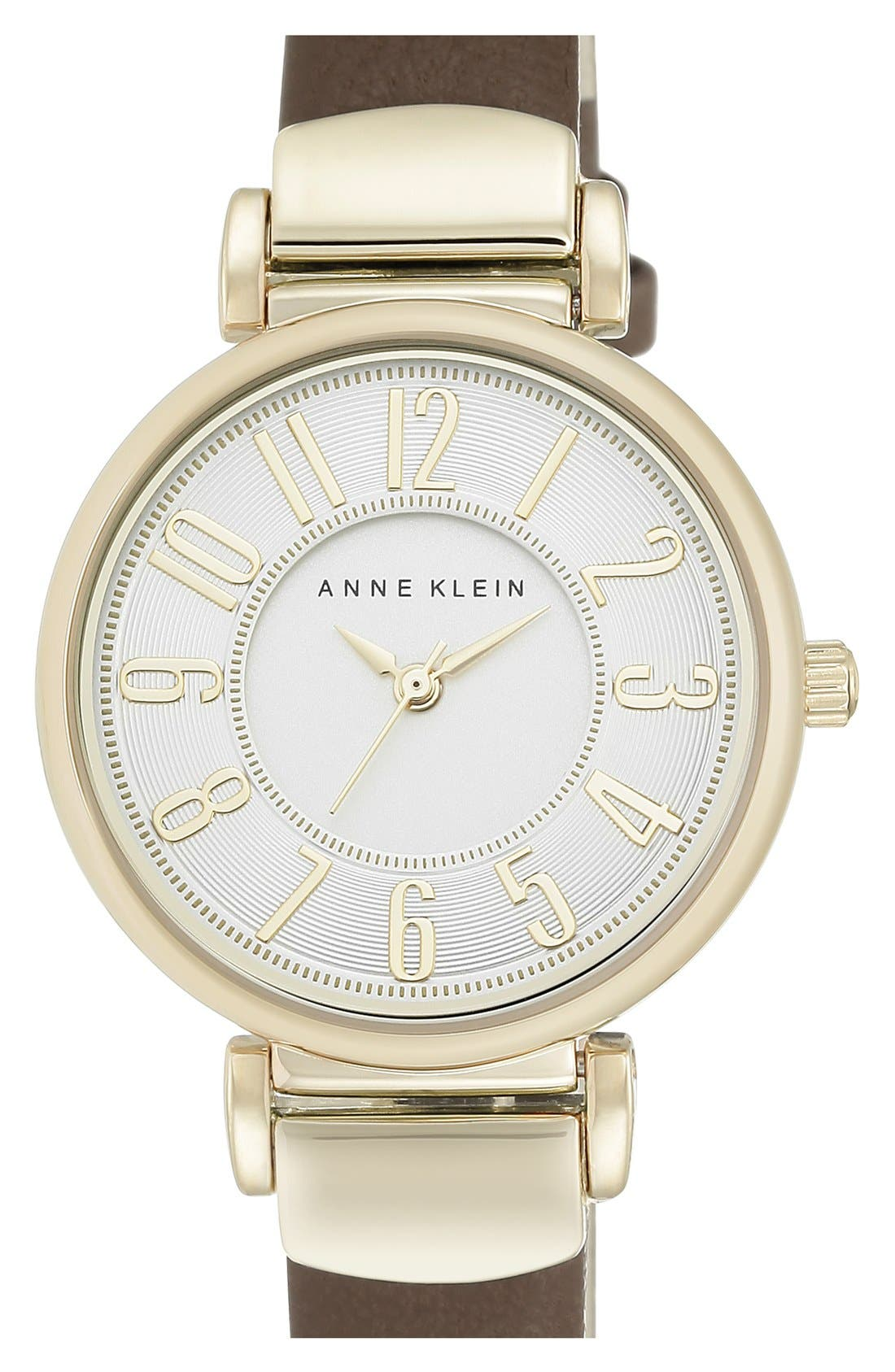 ANNE KLEIN, Leather Strap Watch, 30mm, Main thumbnail 1, color, 200