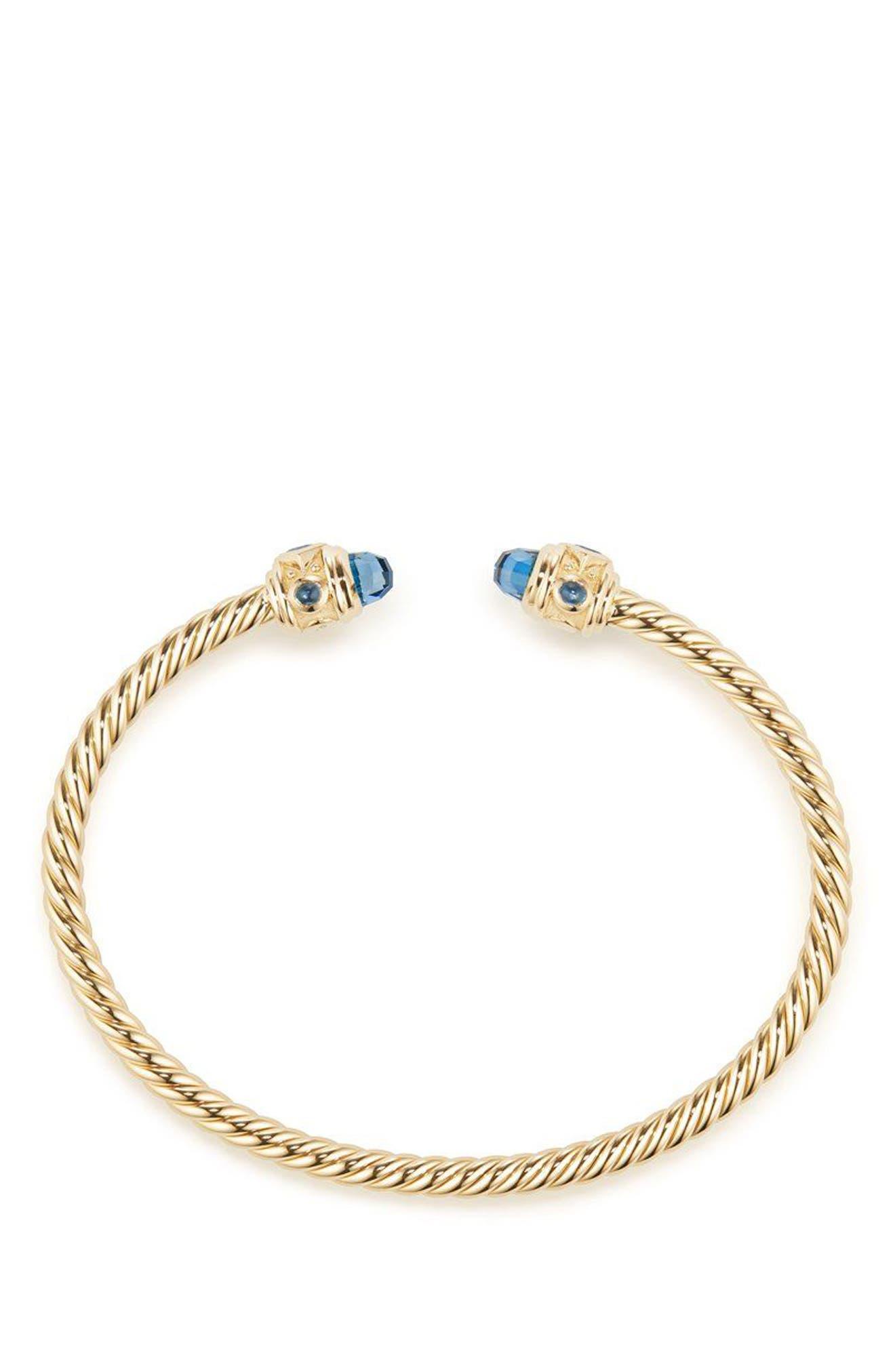 DAVID YURMAN, Renaissance Bracelet in 18K Gold, 3.5mm, Alternate thumbnail 2, color, GOLD/ HAMPTON BLUE TOPAZ