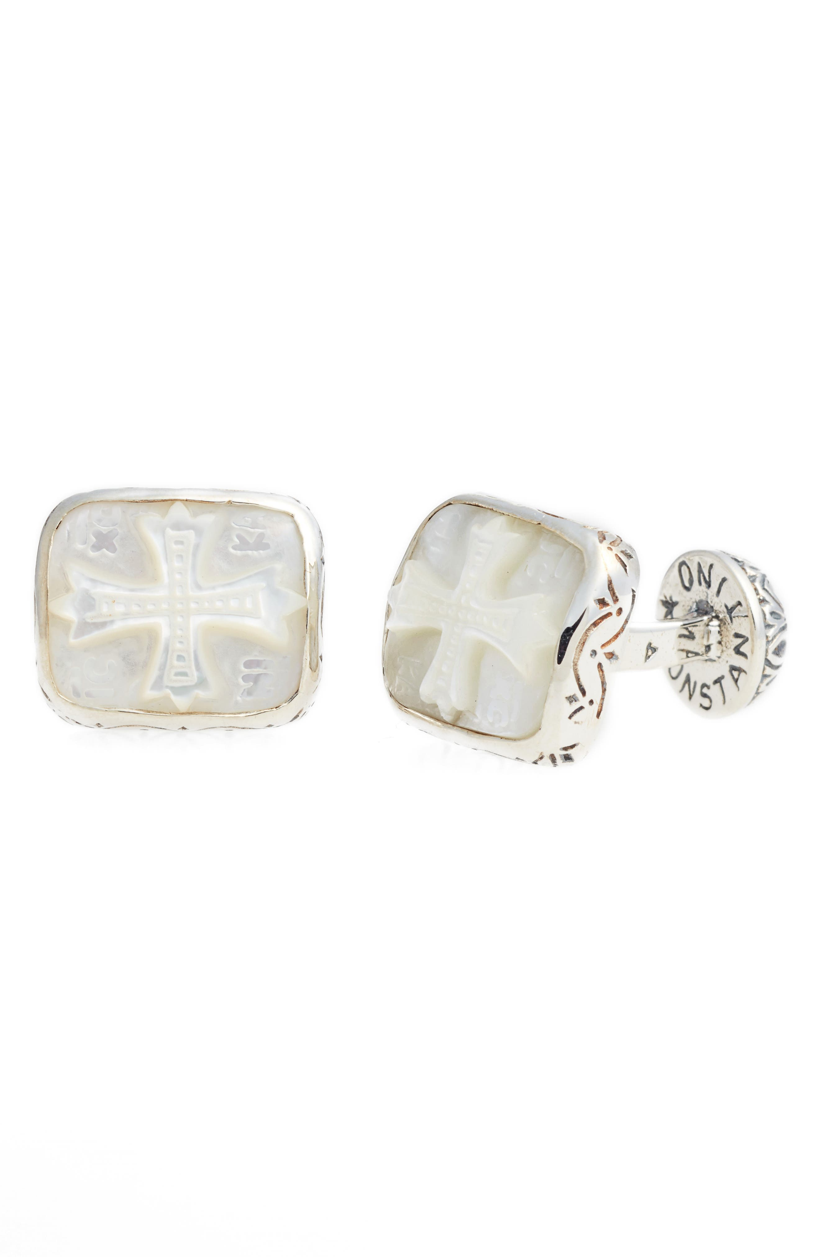 KONSTANTINO, Color Classics Cuff Links, Main thumbnail 1, color, SILVER/ MOTHER OF PEARL