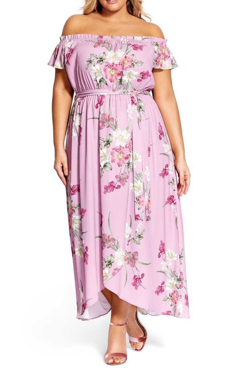 City Chic  PINK FLORAL MAXI DRESS