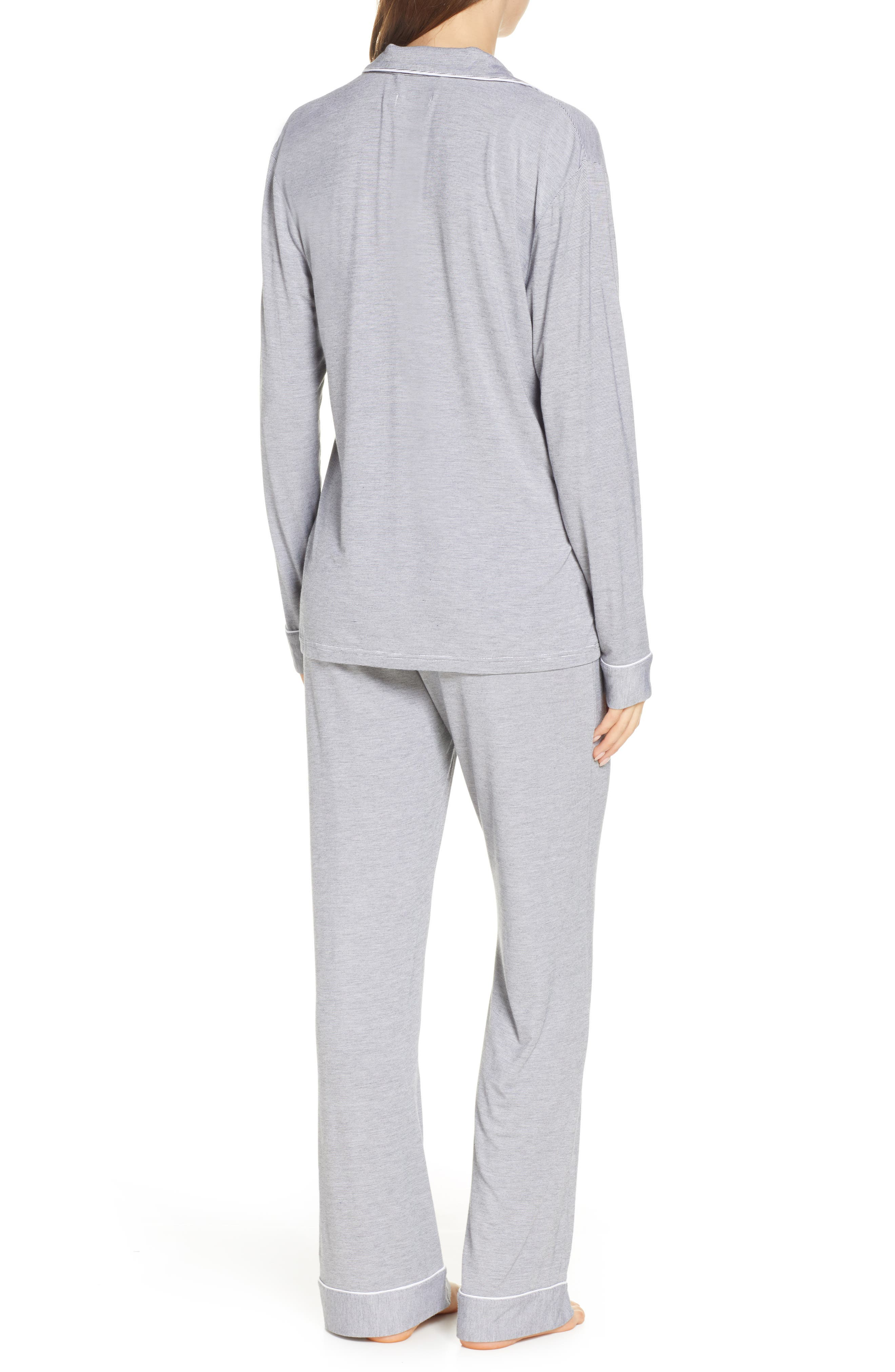 UGG<SUP>®</SUP>, Lenon Mini Stripe Jersey Pajamas, Alternate thumbnail 2, color, BLACK/ CREAM