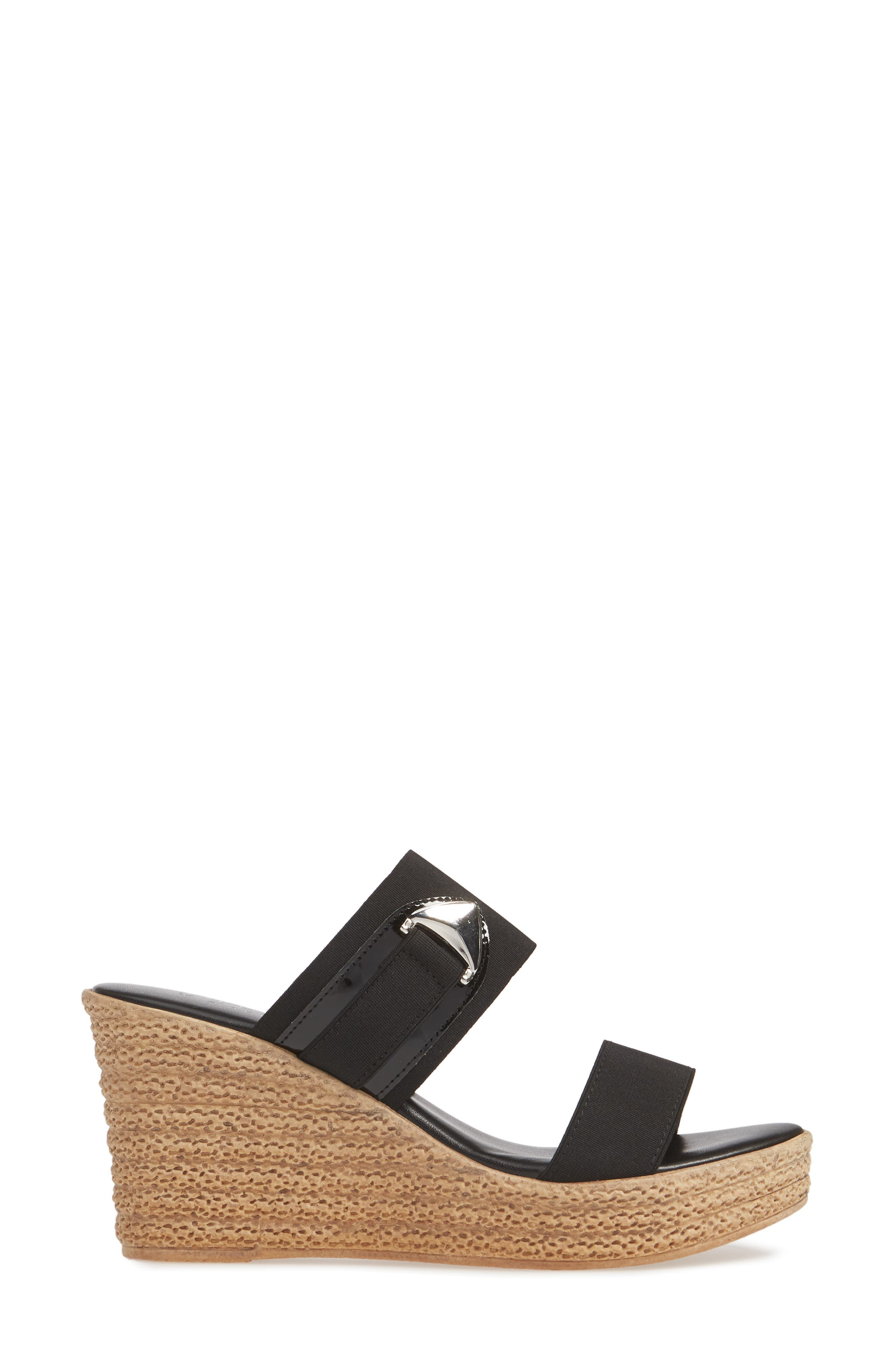 TUSCANY BY EASY STREET<SUP>®</SUP>, Marisole Platform Wedge Sandal, Alternate thumbnail 3, color, BLACK LEATHER