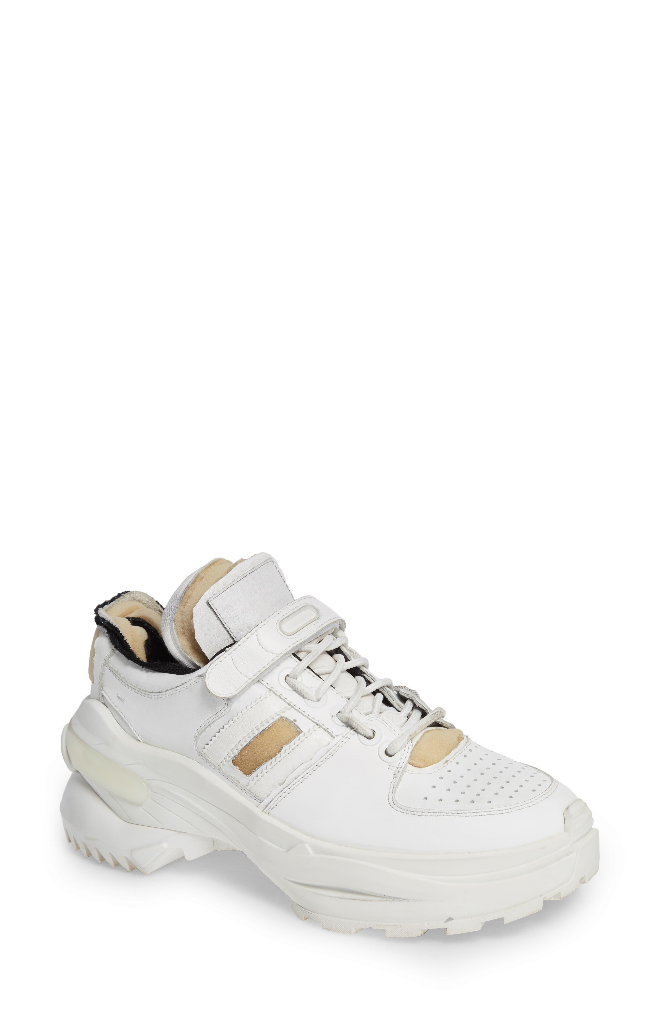 MAISON MARGIELA, Retro Fit Destroyed Sneaker, Main thumbnail 1, color, WHITE