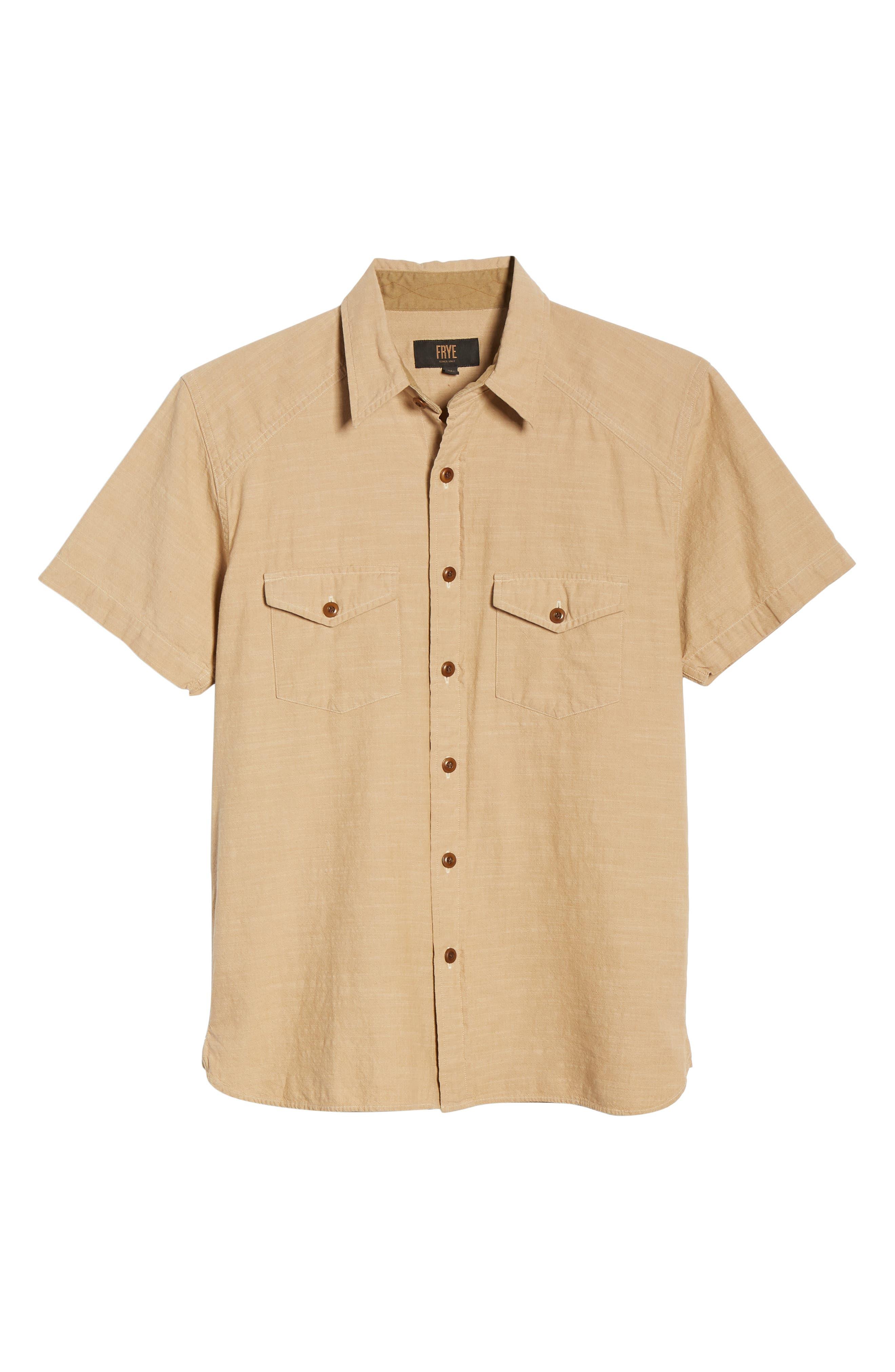 FRYE, Addison Chambray Woven Shirt, Alternate thumbnail 5, color, KRAFT BROWN