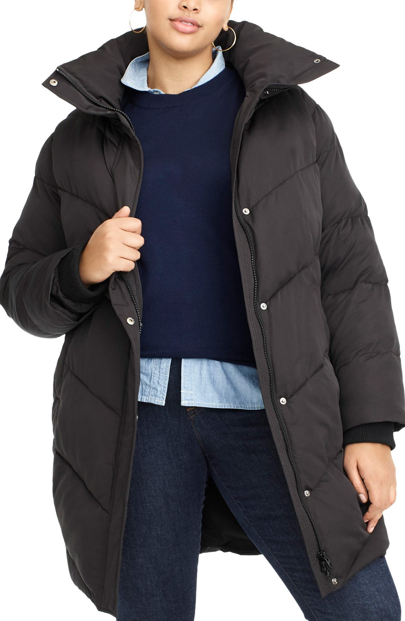 UNIVERSAL STANDARD, for J.Crew Chevron Long Puffer Coat, Main thumbnail 1, color, BLACK