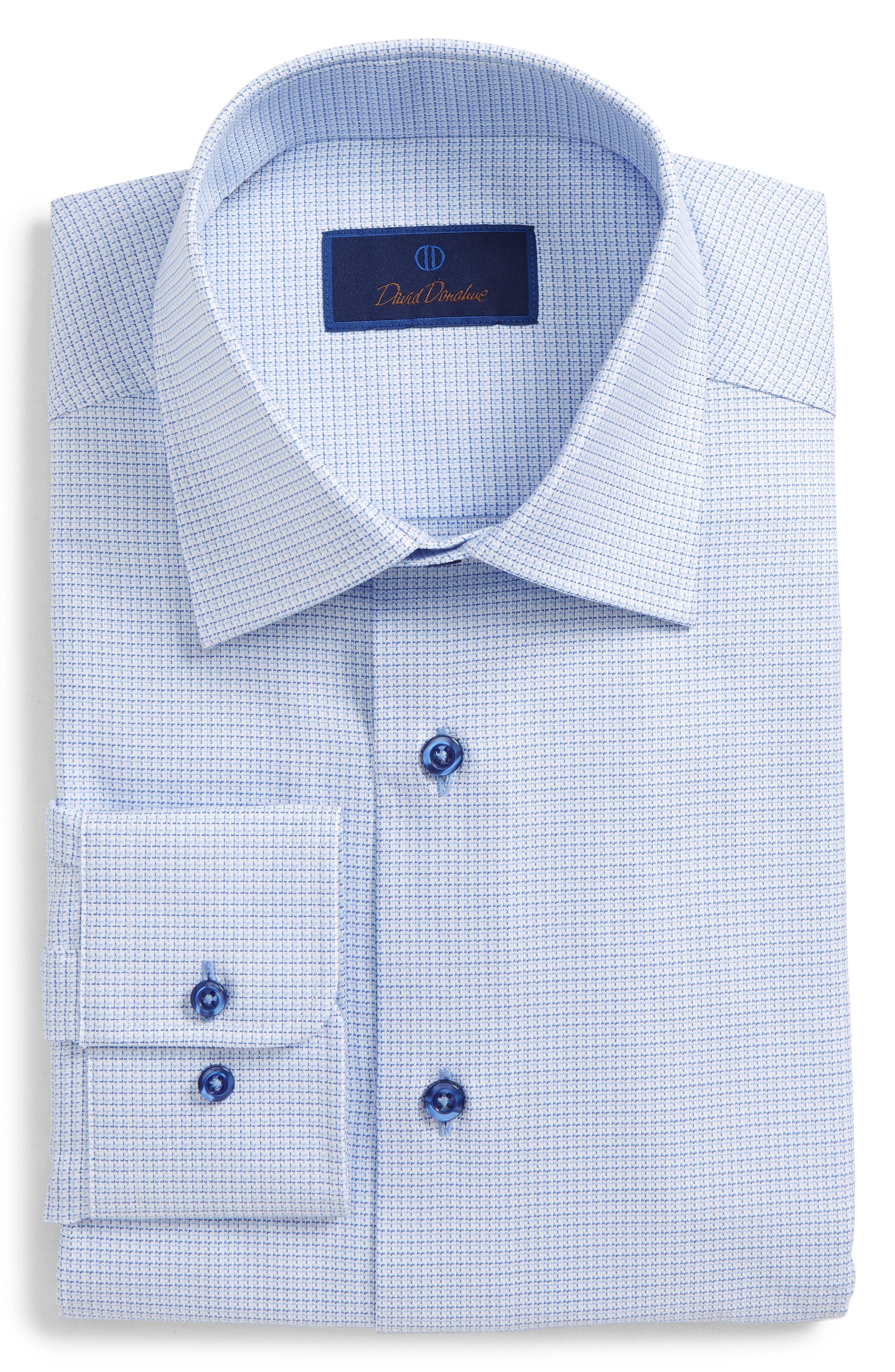 DAVID DONAHUE, Regular Fit Check Dress Shirt, Main thumbnail 1, color, BLUE