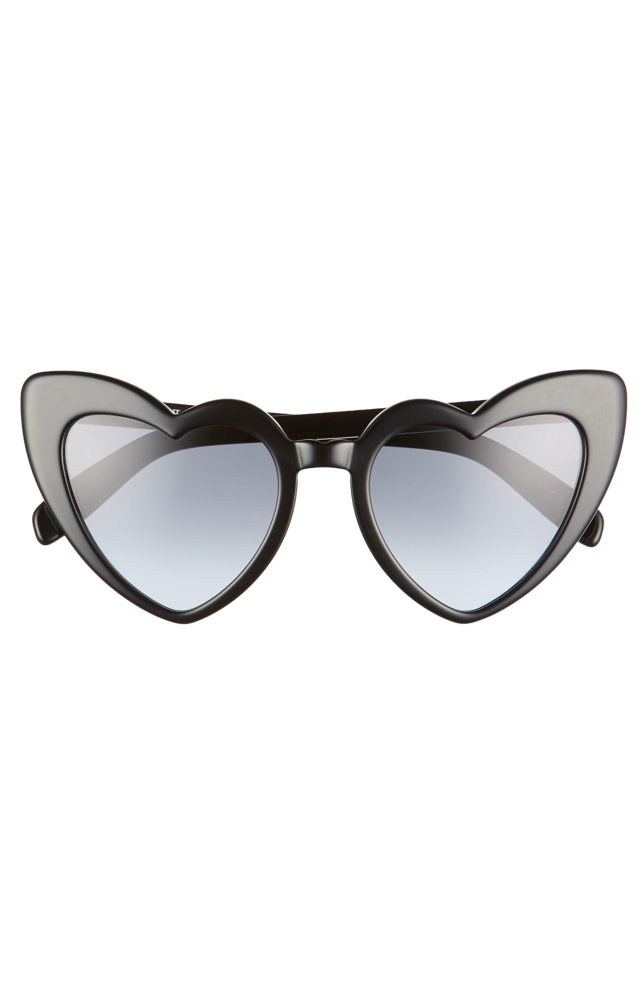 SAINT LAURENT, Loulou 54mm Heart Sunglasses, Alternate thumbnail 3, color, BLACK/ GREY BLUE GRADIENT
