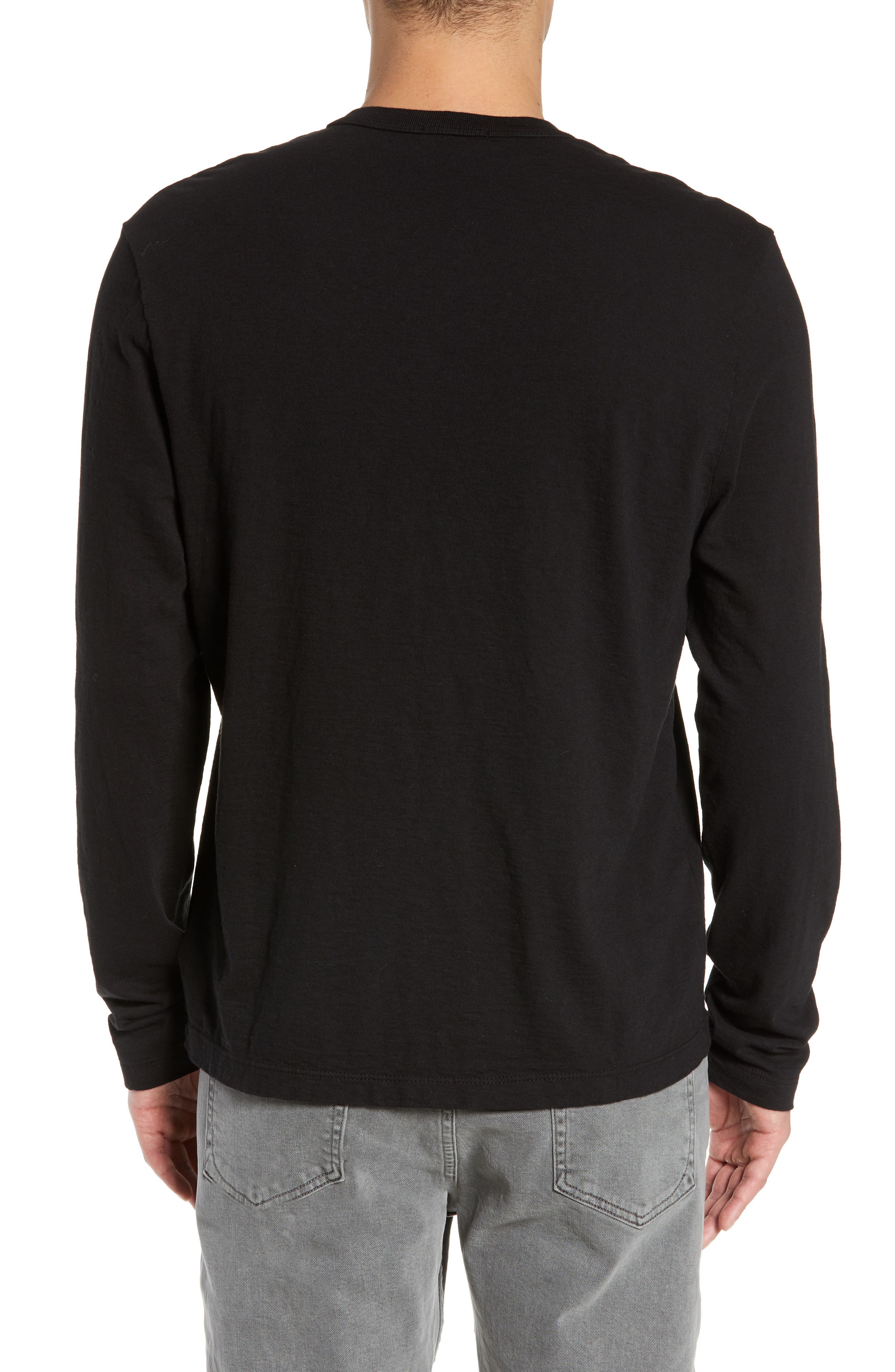 JAMES PERSE, Slim Fit Long Sleeve Henley, Alternate thumbnail 2, color, 001