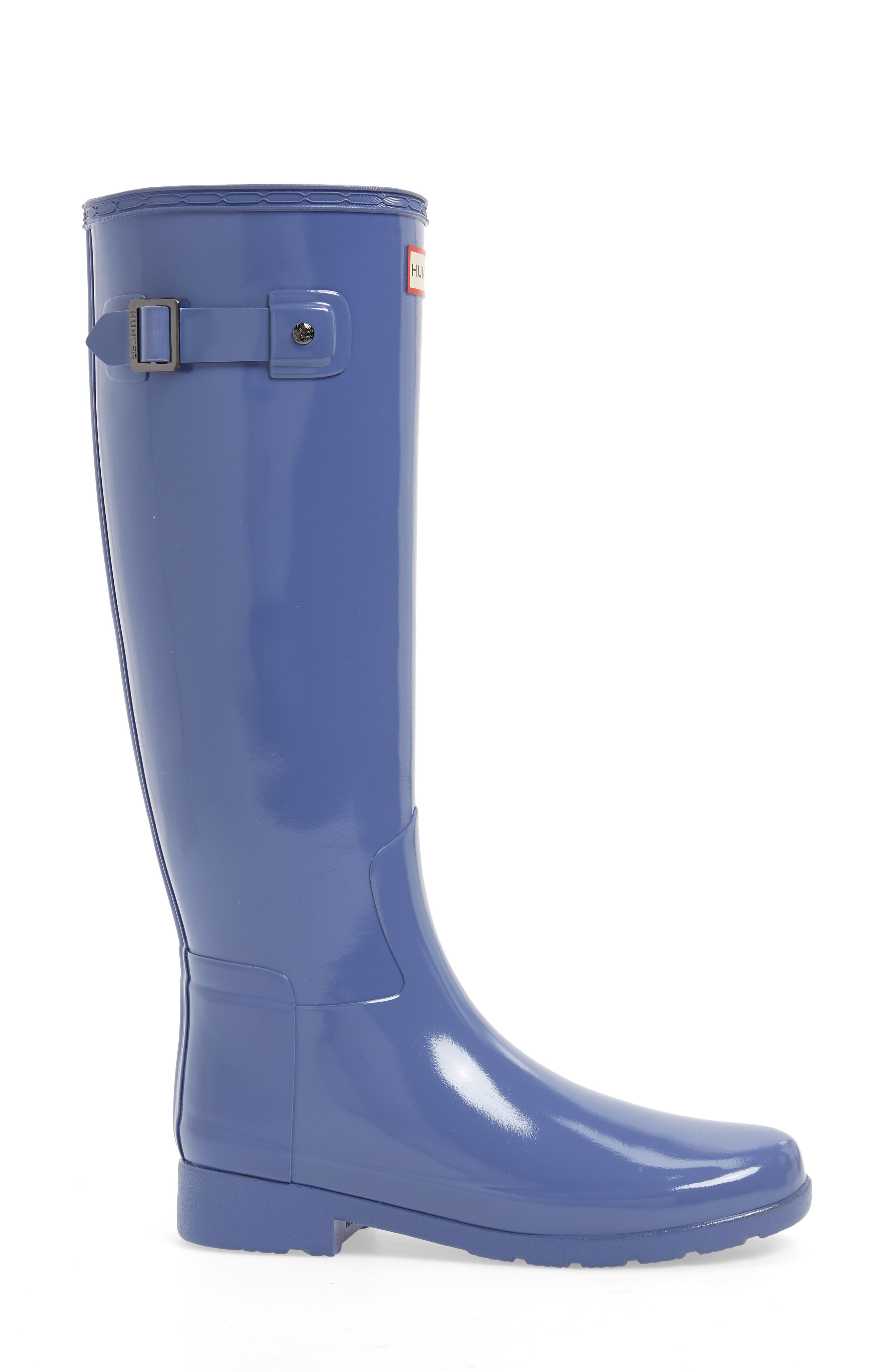 HUNTER, Original Refined High Gloss Waterproof Rain Boot, Alternate thumbnail 3, color, 475