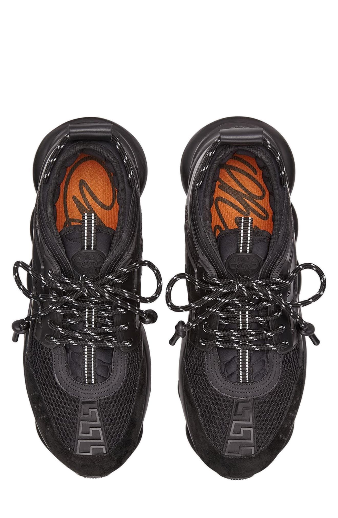 VERSACE FIRST LINE, Versace Chain Reaction Sneaker, Alternate thumbnail 4, color, NERO