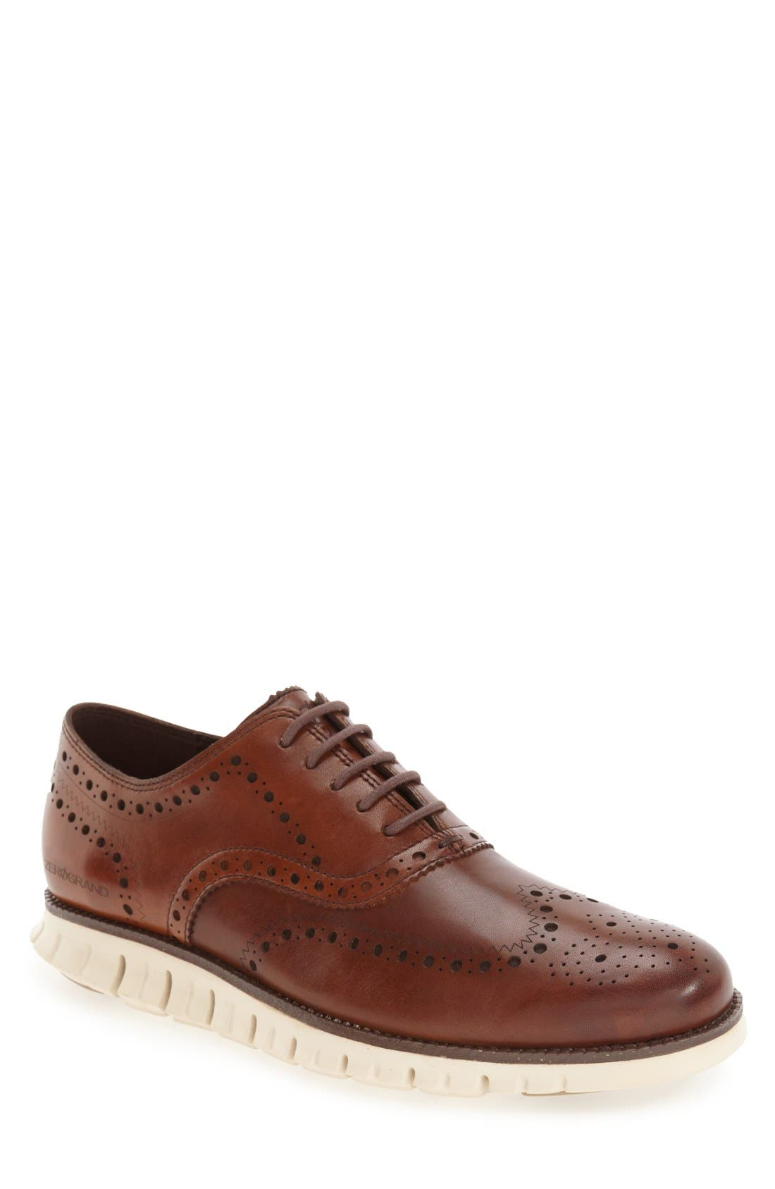 COLE HAAN, 'ZeroGrand' Wingtip Oxford, Alternate thumbnail 5, color, BRITISH TAN