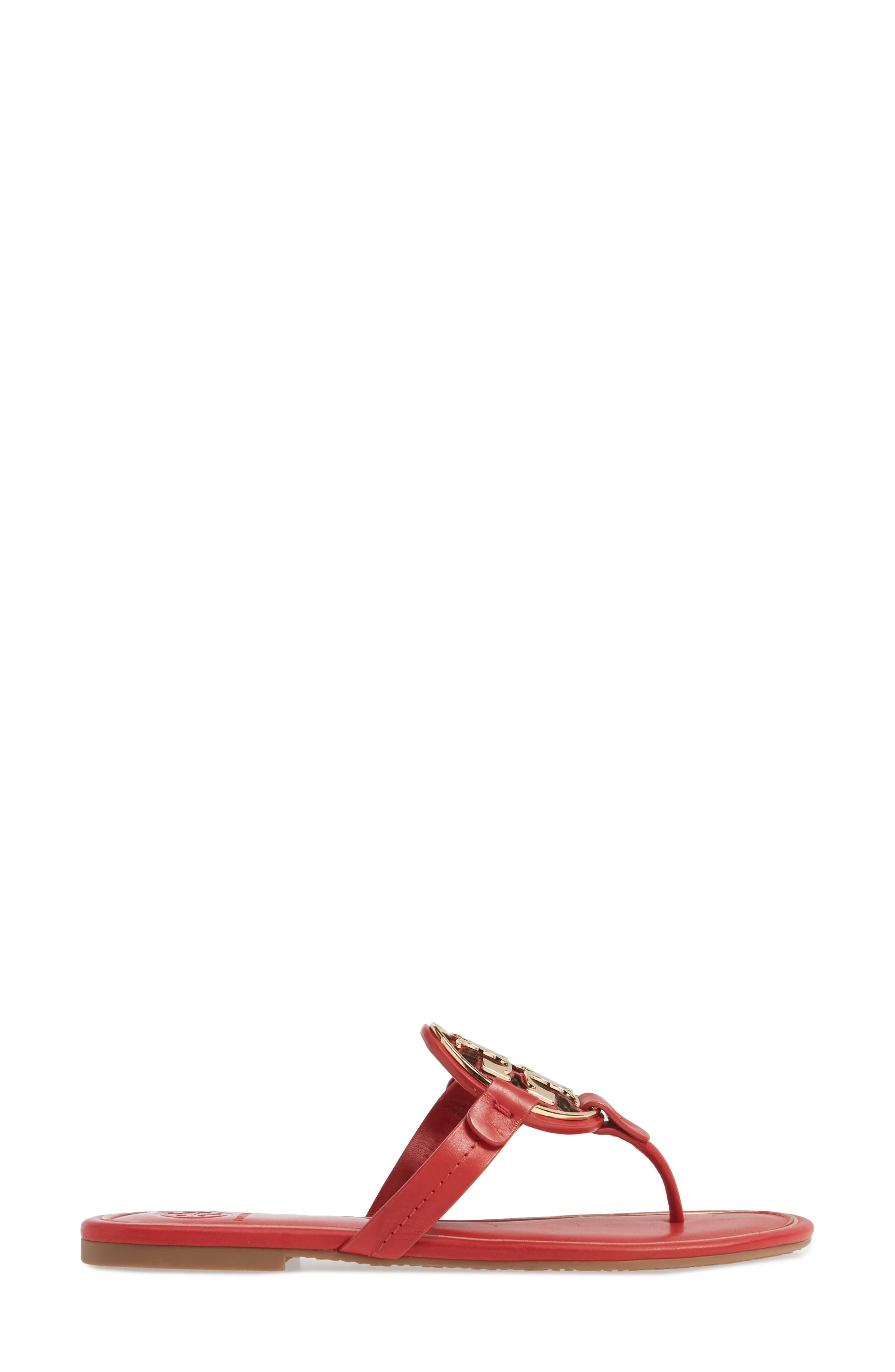 TORY BURCH, Metal Miller Flip Flop, Alternate thumbnail 3, color, BRILLIANT RED/ GOLD