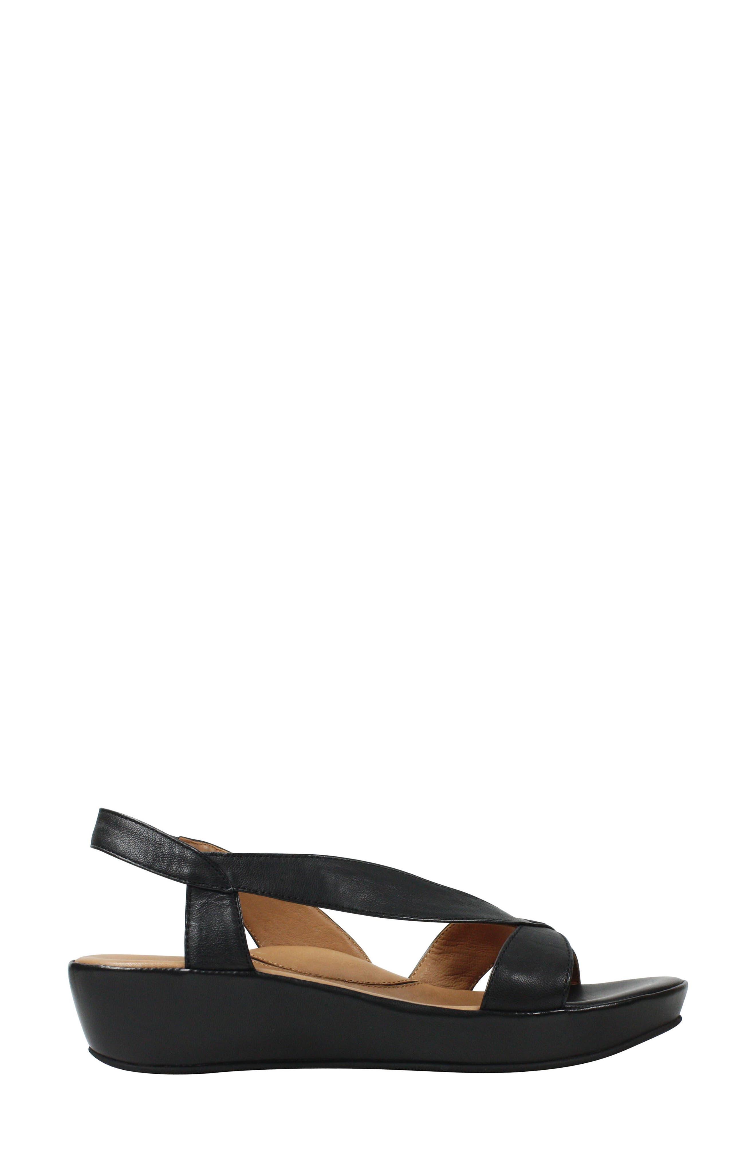 L'AMOUR DES PIEDS, Crotono Sandal, Alternate thumbnail 3, color, BLACK NAPPA LEATHER