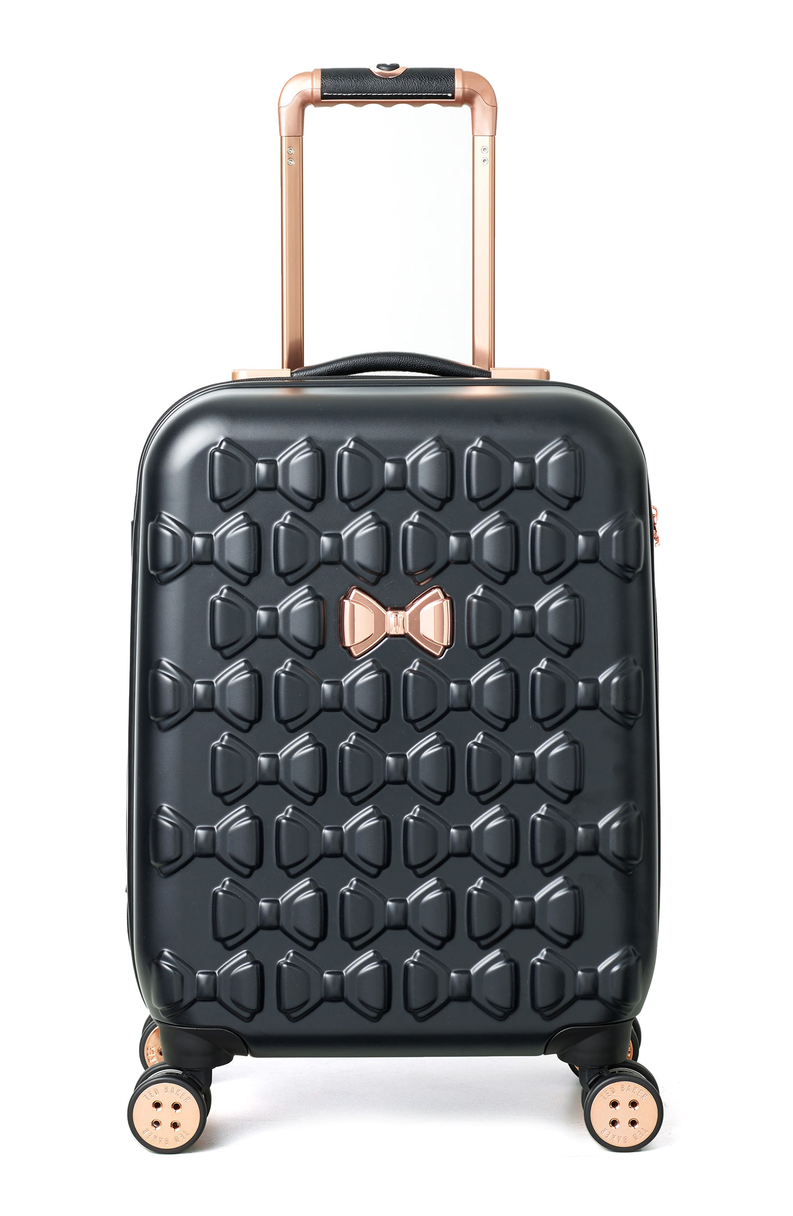 TED BAKER LONDON, Small Beau 22-Inch Bow Embossed Four-Wheel Trolley Suitcase, Main thumbnail 1, color, BLACK