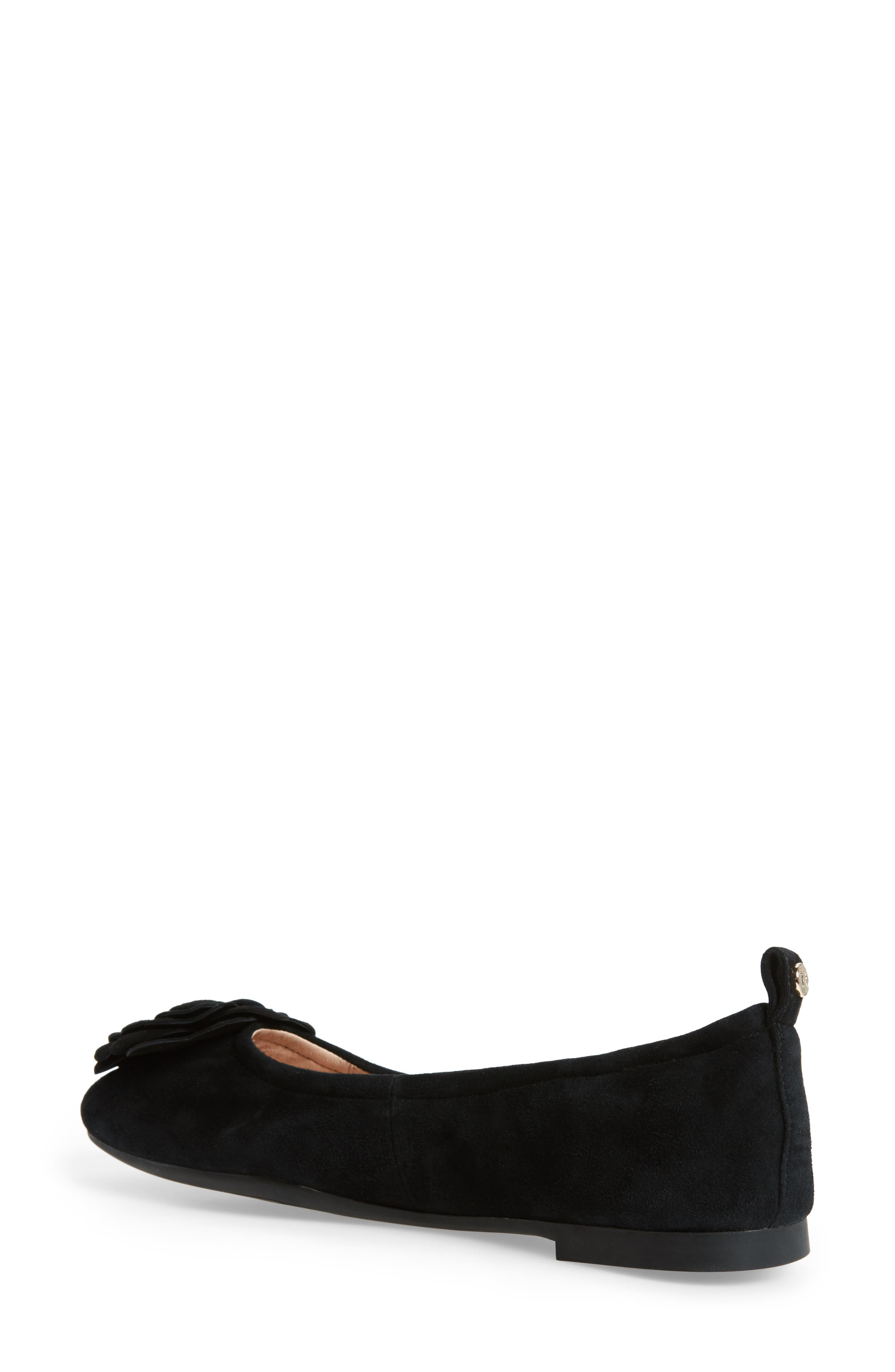 TARYN ROSE, Rosalyn Ballet Flat, Alternate thumbnail 2, color, BLACK SUEDE