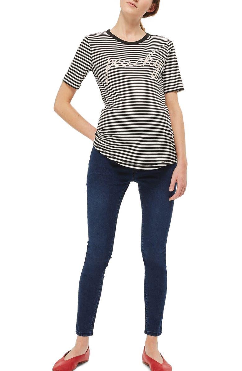 43a278446fd64 TOPSHOP Joni Crop Skinny Maternity Jeans, Main, color, 400