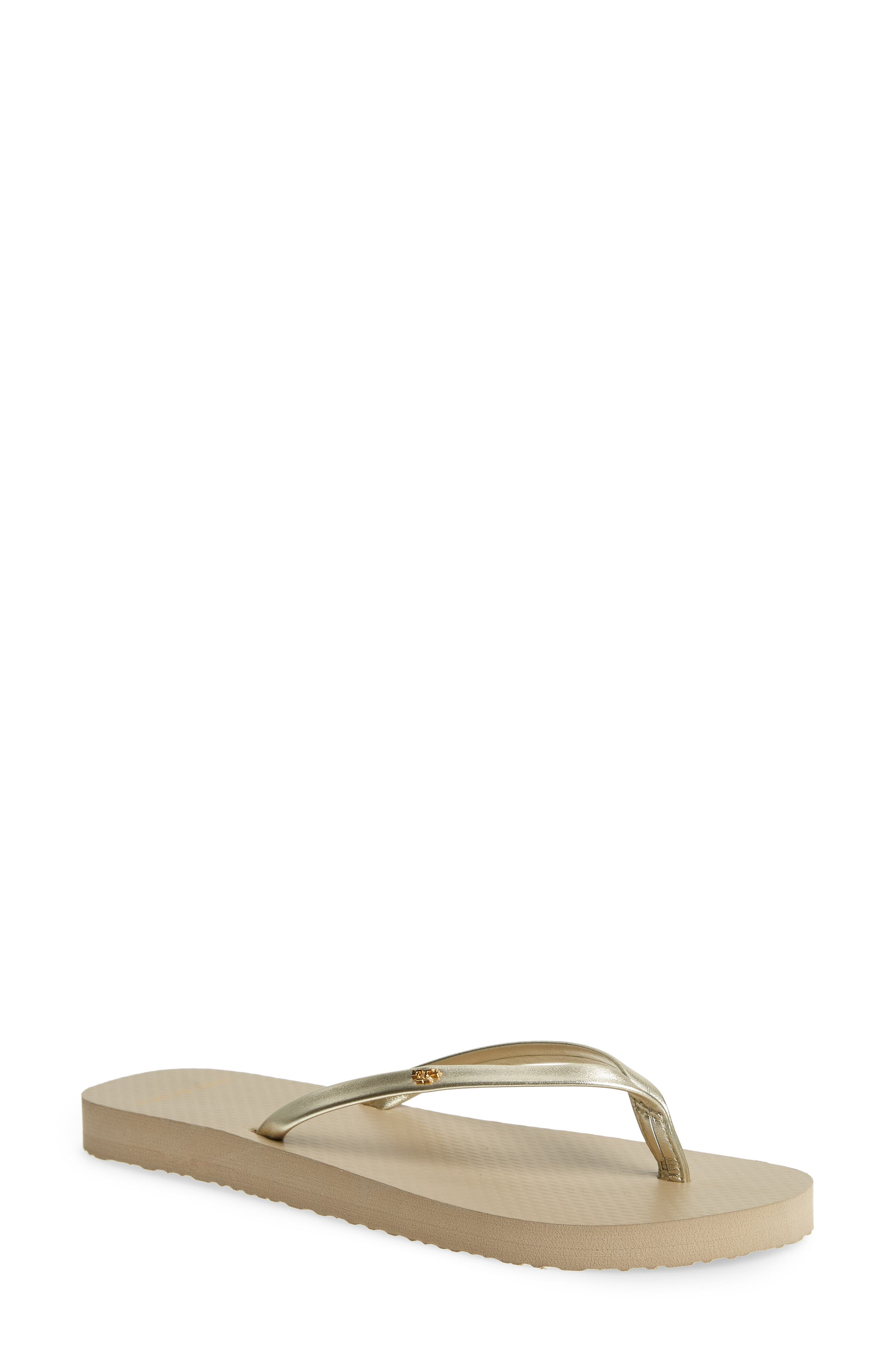 TORY BURCH, Logo Metallic Flip Flop, Main thumbnail 1, color, SPARK GOLD/ LIGHT TAUPE